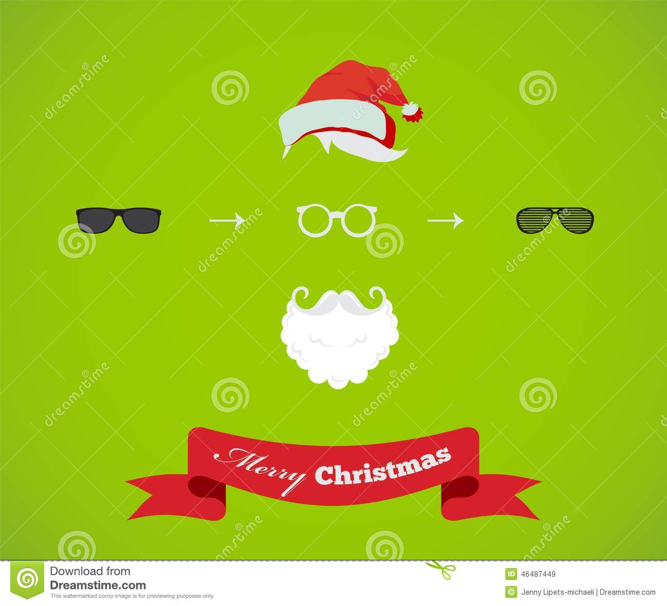 Create Your Own Hipster Santa Christmas Card Stock Illustration ...