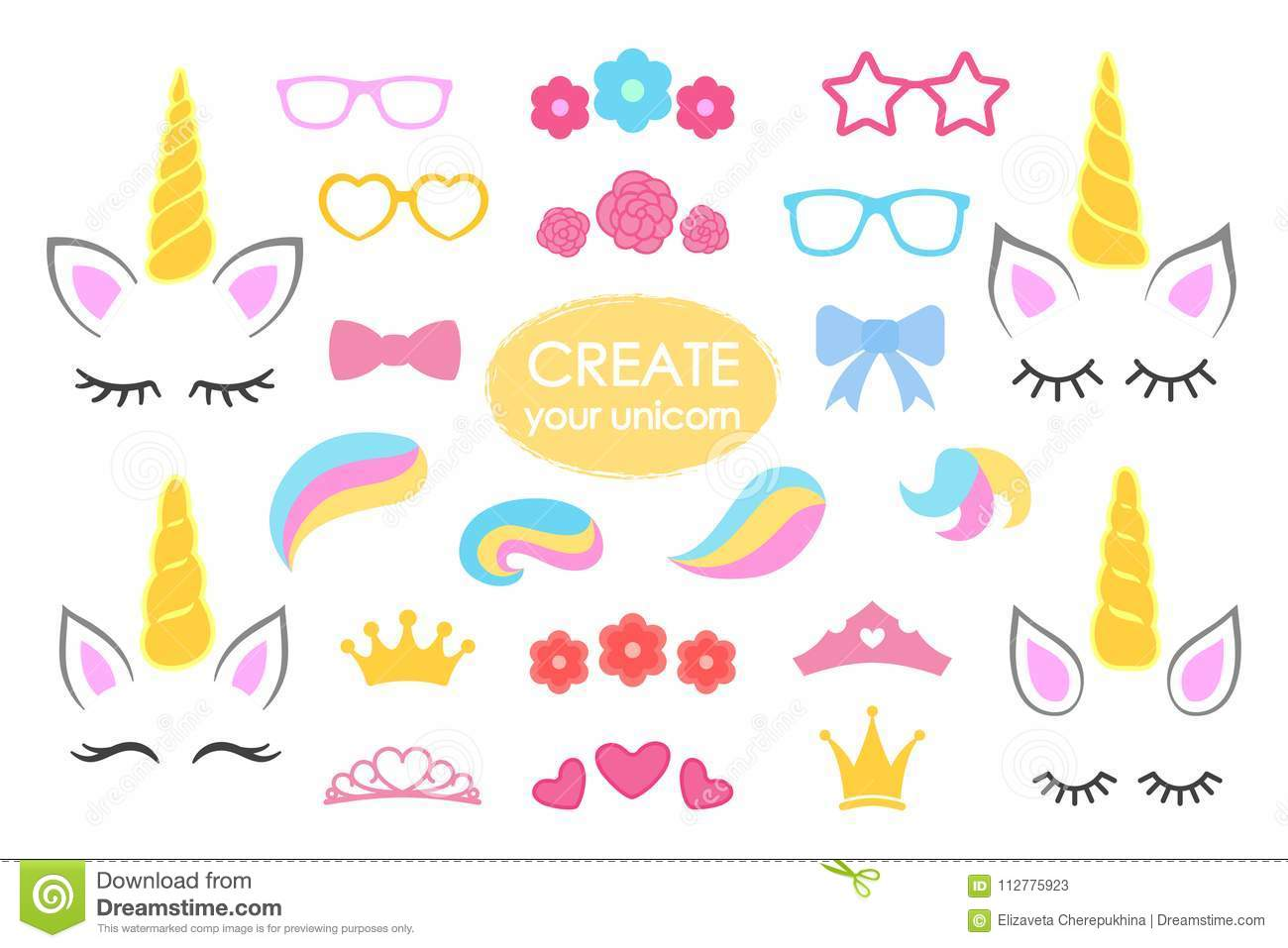 Create your own unicorn - big vector collection. Unicorn constructor. Cute unicorn face. Unicorn details - Horhs, eyelashes, ears,