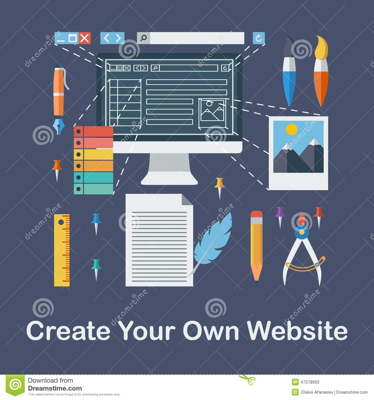 Create Your Own Website Stock Vector Image 47578663