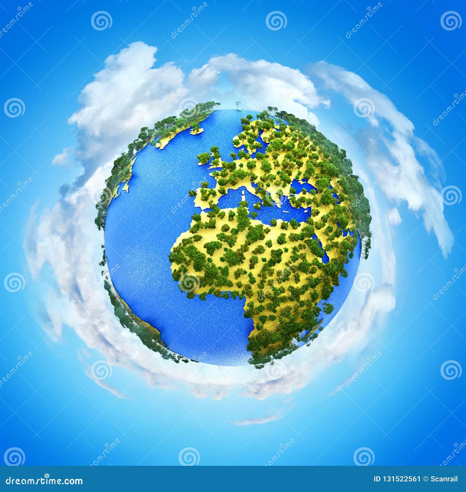 Creatief abstract globaal ecologie en milieubescherming bedrijfsconcept: 3D geef illustratie van miniatuur mini groene Aarde teru