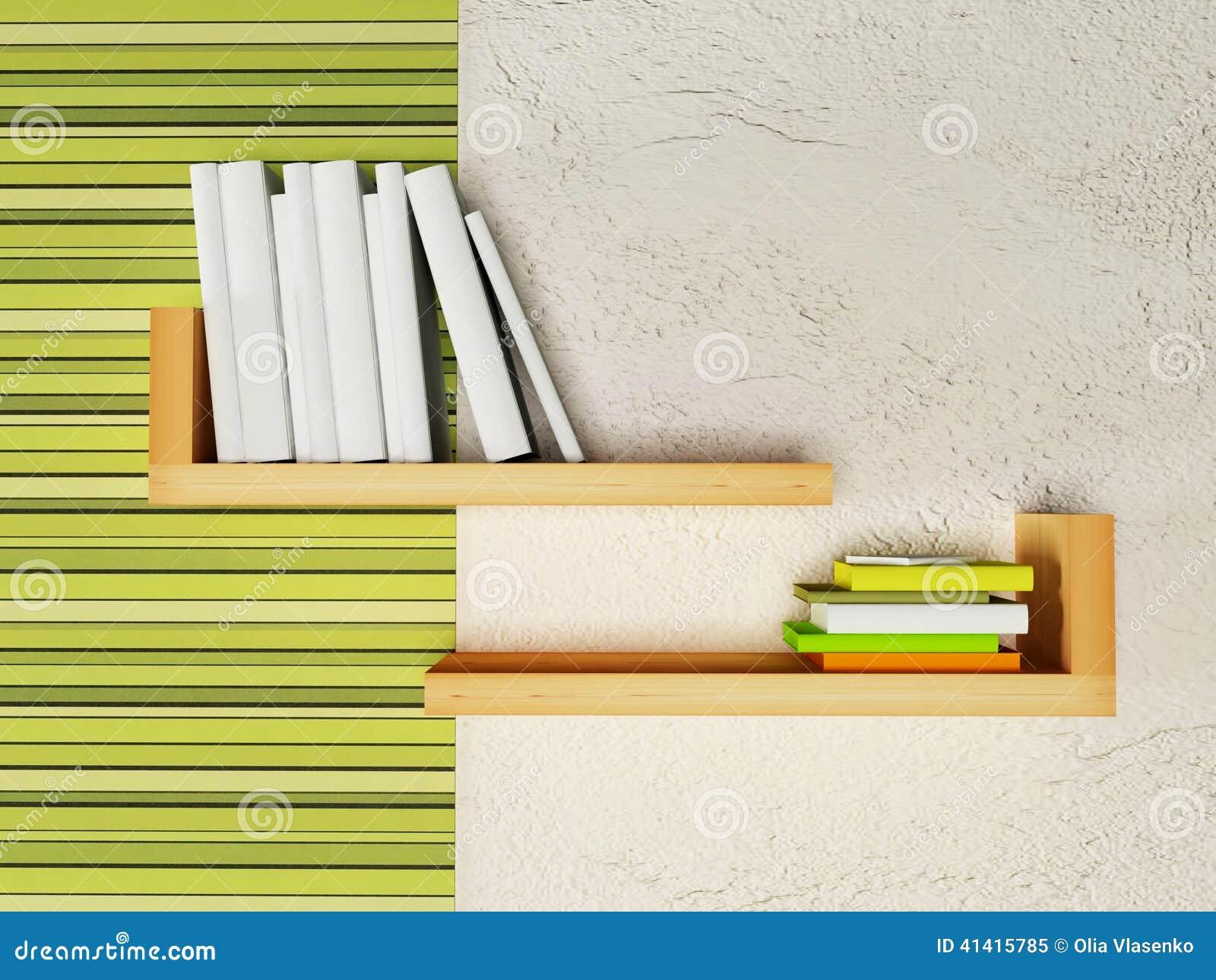 Creatief boekenrek op de muur stock illustratie afbeelding 41415785 - Kleden muur op ...