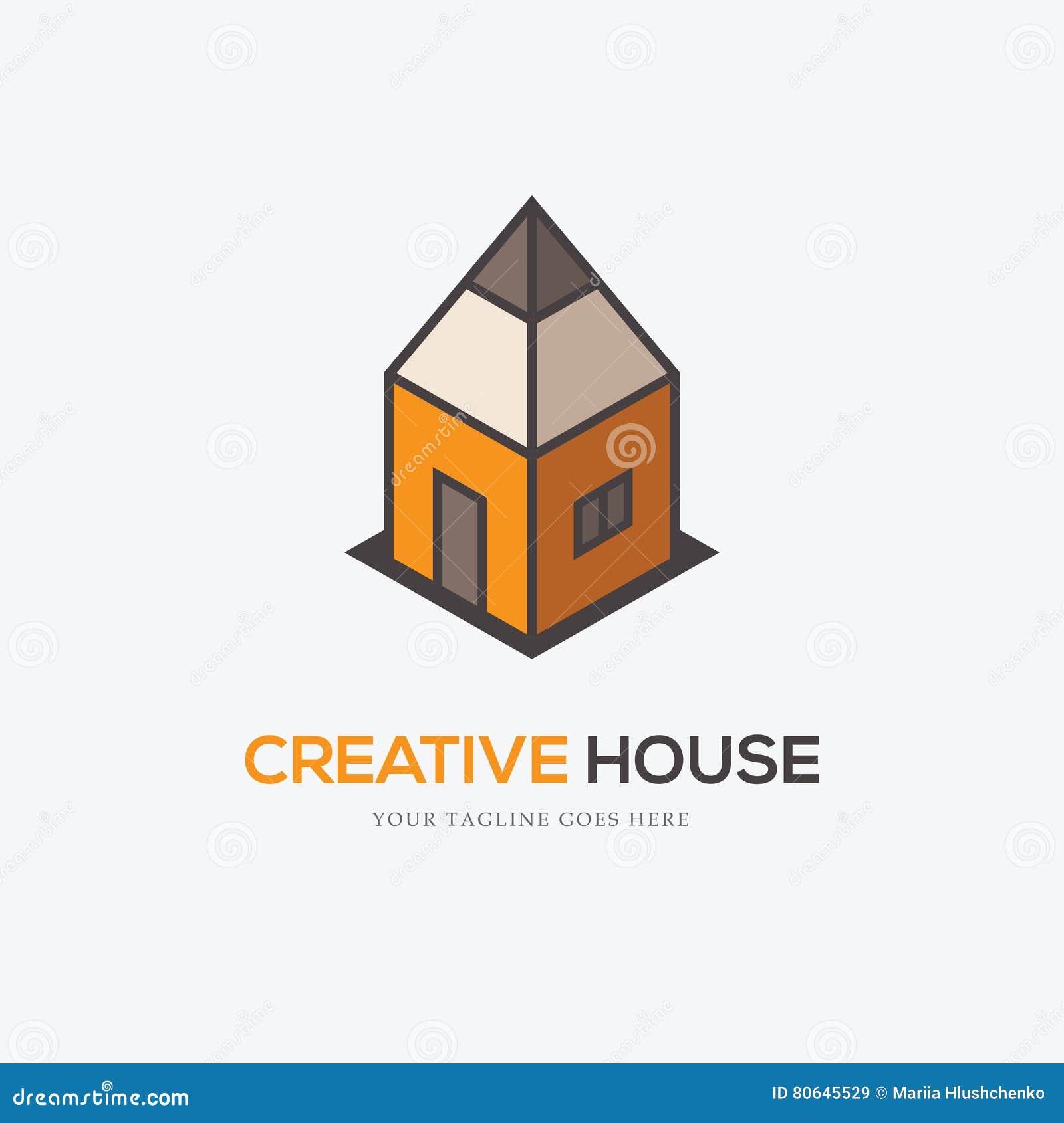 Creatief embleem met potlood en huis