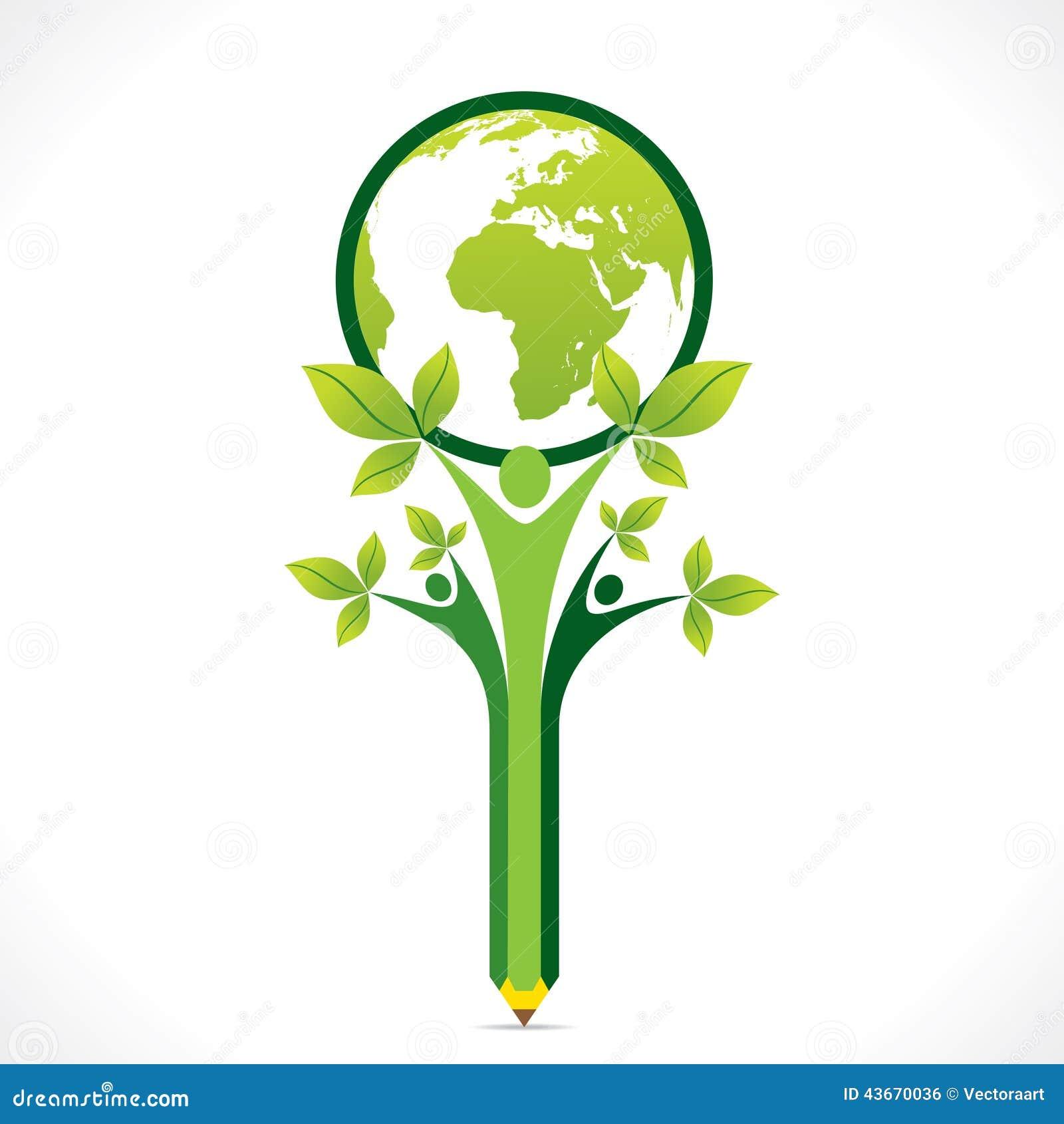 Creatief ga groen of bewaar aardesteun door mensen of kinderenconcept