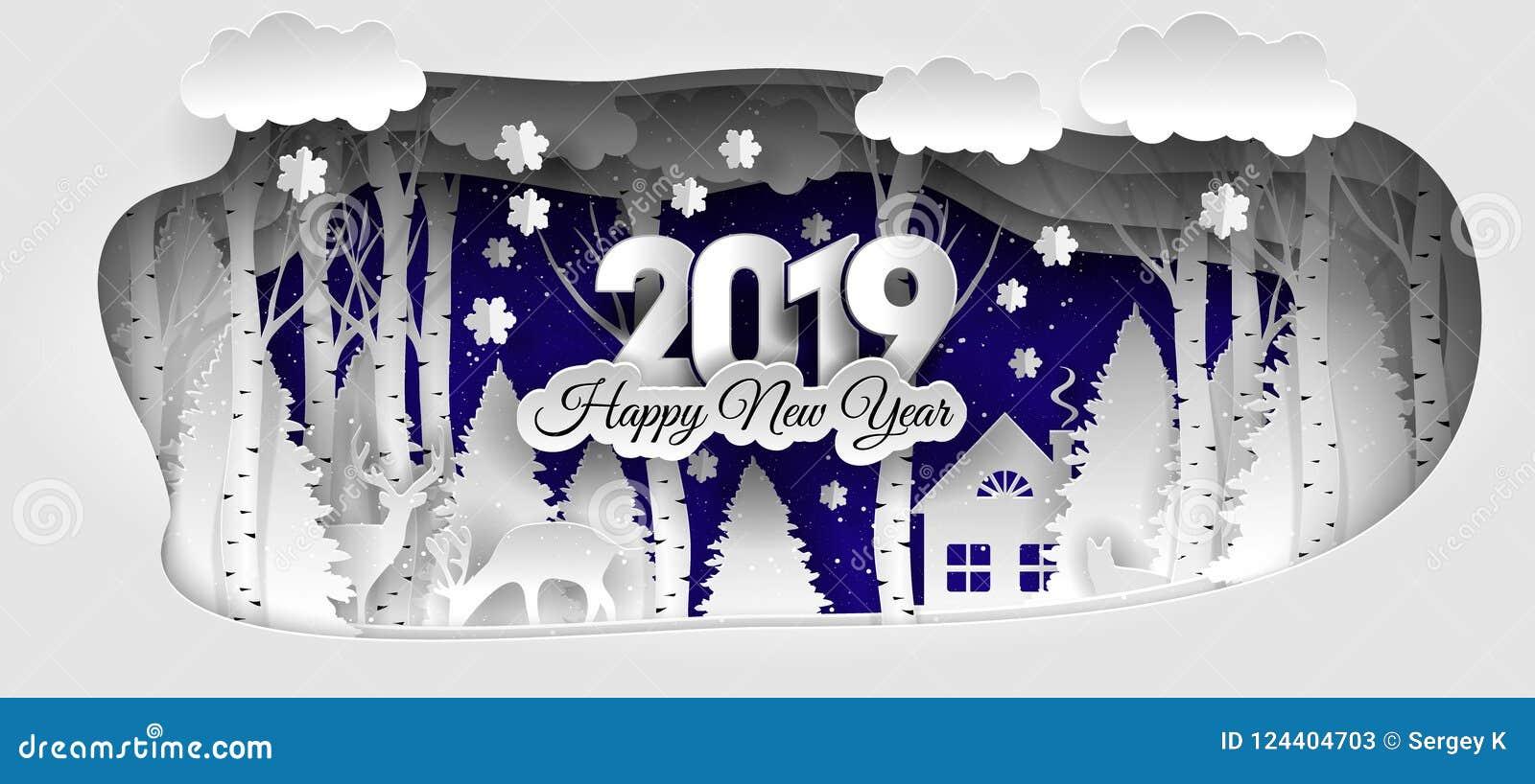 Creatief gelukkig nieuw jaar 2019 ontwerp De winter bos Gelukkig nieuw jaar 2019
