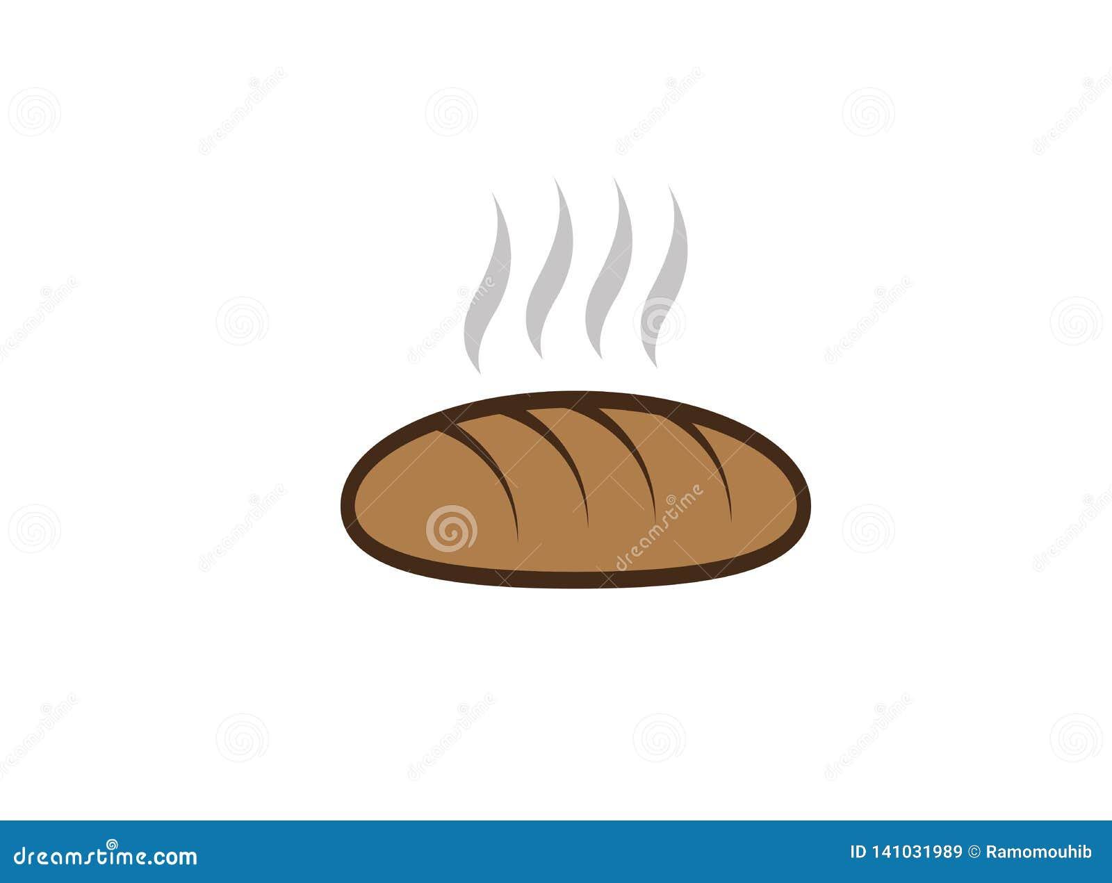 Creatief heet Brood voor de illustratie van het embleemontwerp, het symbool van de bakkerijwinkel