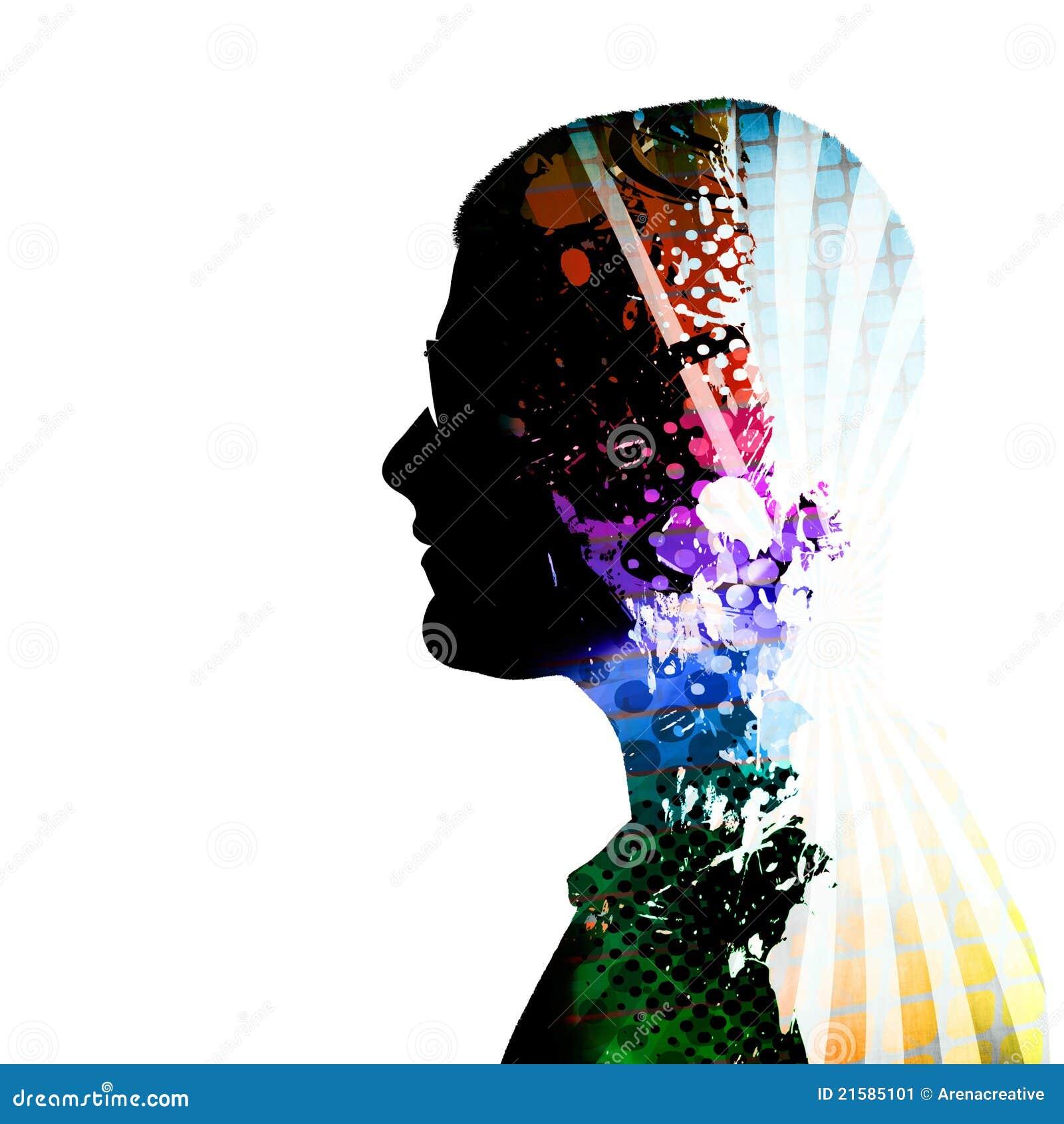 Creatief het Denken het Silhouet van de Persoon