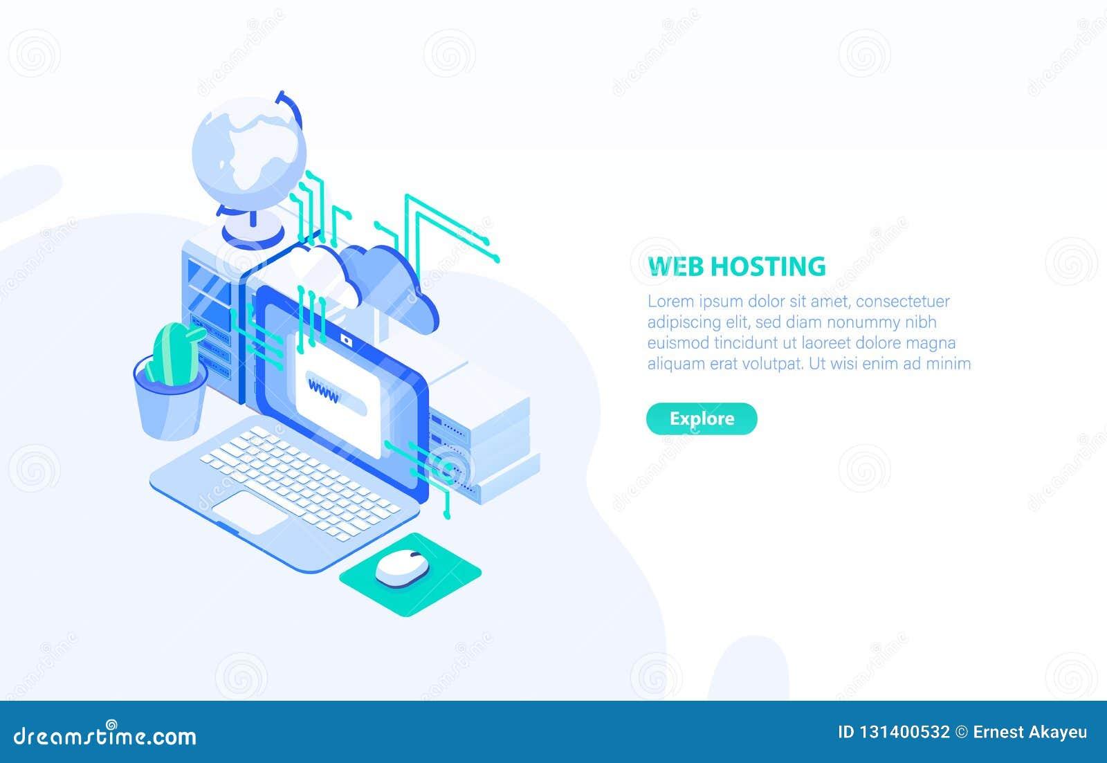 Creatief horizontaal bannermalplaatje met laptop computer, server en plaats voor tekst Web of Internet-het ontvangen technologie