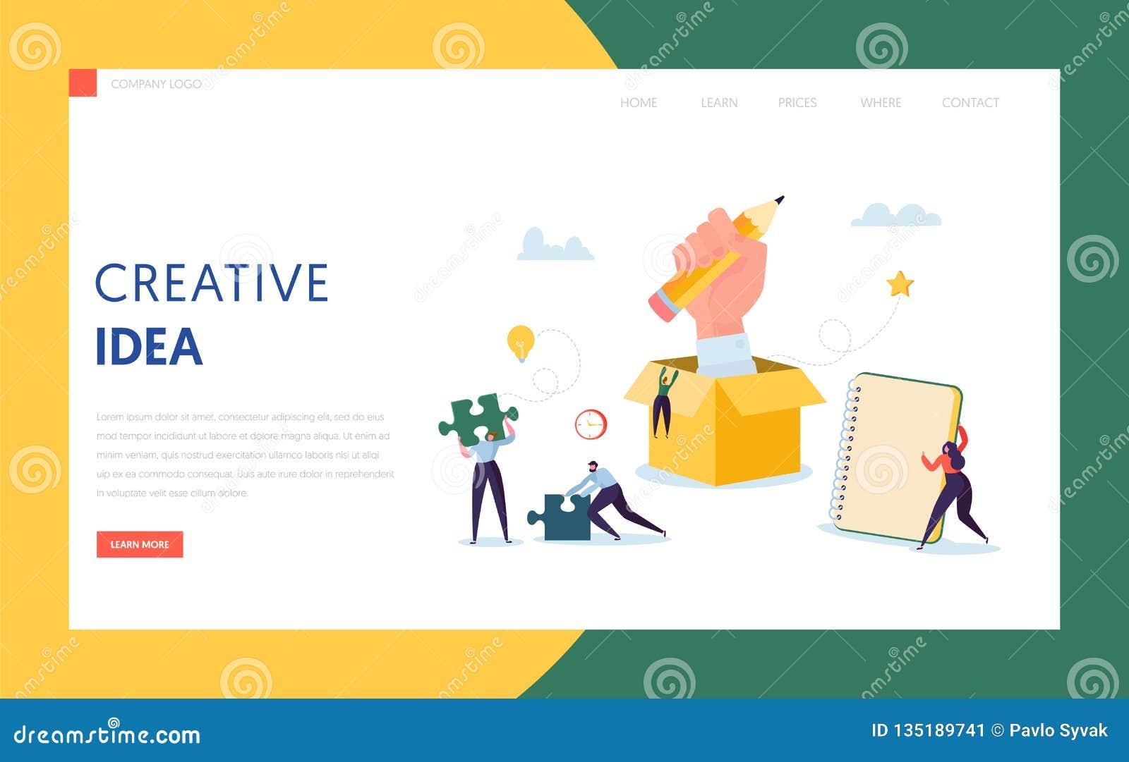Creatief Idee Bedrijfstechnologielandingspagina Karakter Team Work Together op het Plan van de Succesoplossing voor Project