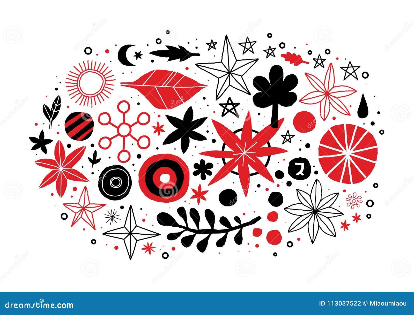 Creatief malplaatje met bloemen en abstracte hand getrokken elementen Kan voor reclame, grafisch ontwerp worden gebruikt