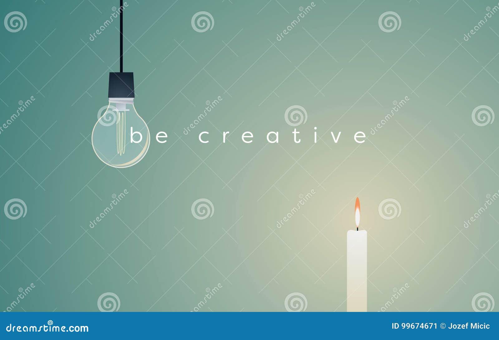 Creatief oplossings bedrijfs vectorconcept met lightbulb en kaars het lichte branden Eenvoudige oplossing voor succes