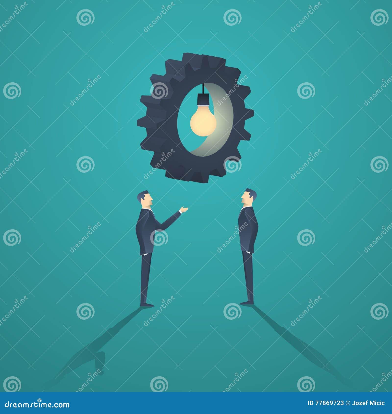 Creatief oplossings bedrijfsconcept met zakenman twee en toestel lightbulb