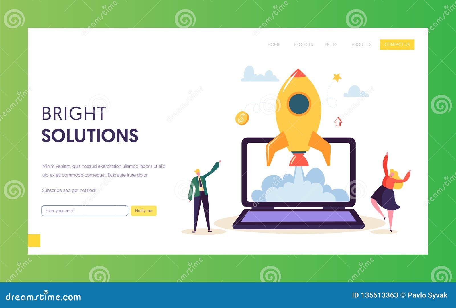 Creatief Opstarten Rocket Launch Landing Page Ontwikkeling van het het Begin Succesvolle Project van het bedrijfsmensenkarakter i