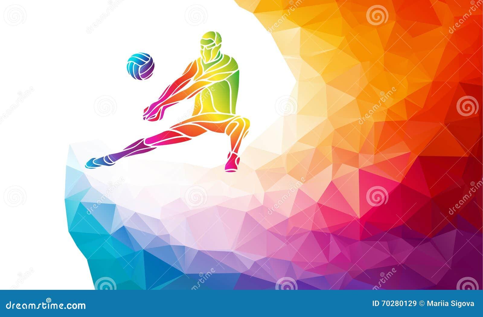 Creatief silhouet van volleyballspeler De vectorillustratie van de teamsport of bannermalplaatje in in abstracte kleurrijk