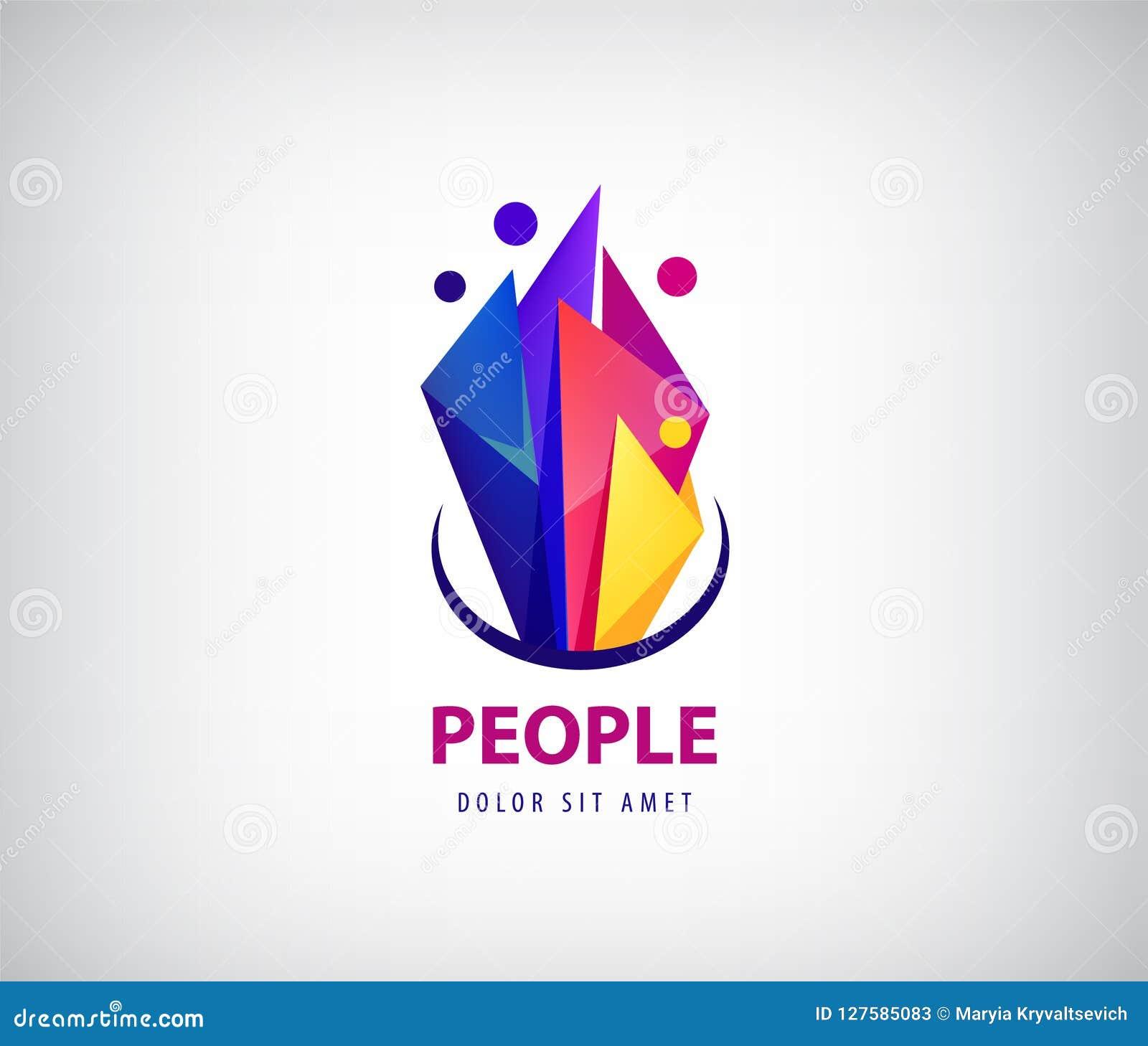 Creatief Team Logo Kleurrijke abstracte mensen, gefacetteerd origamiontwerp Vector menselijk embleem, pictogram of embleemmalplaa