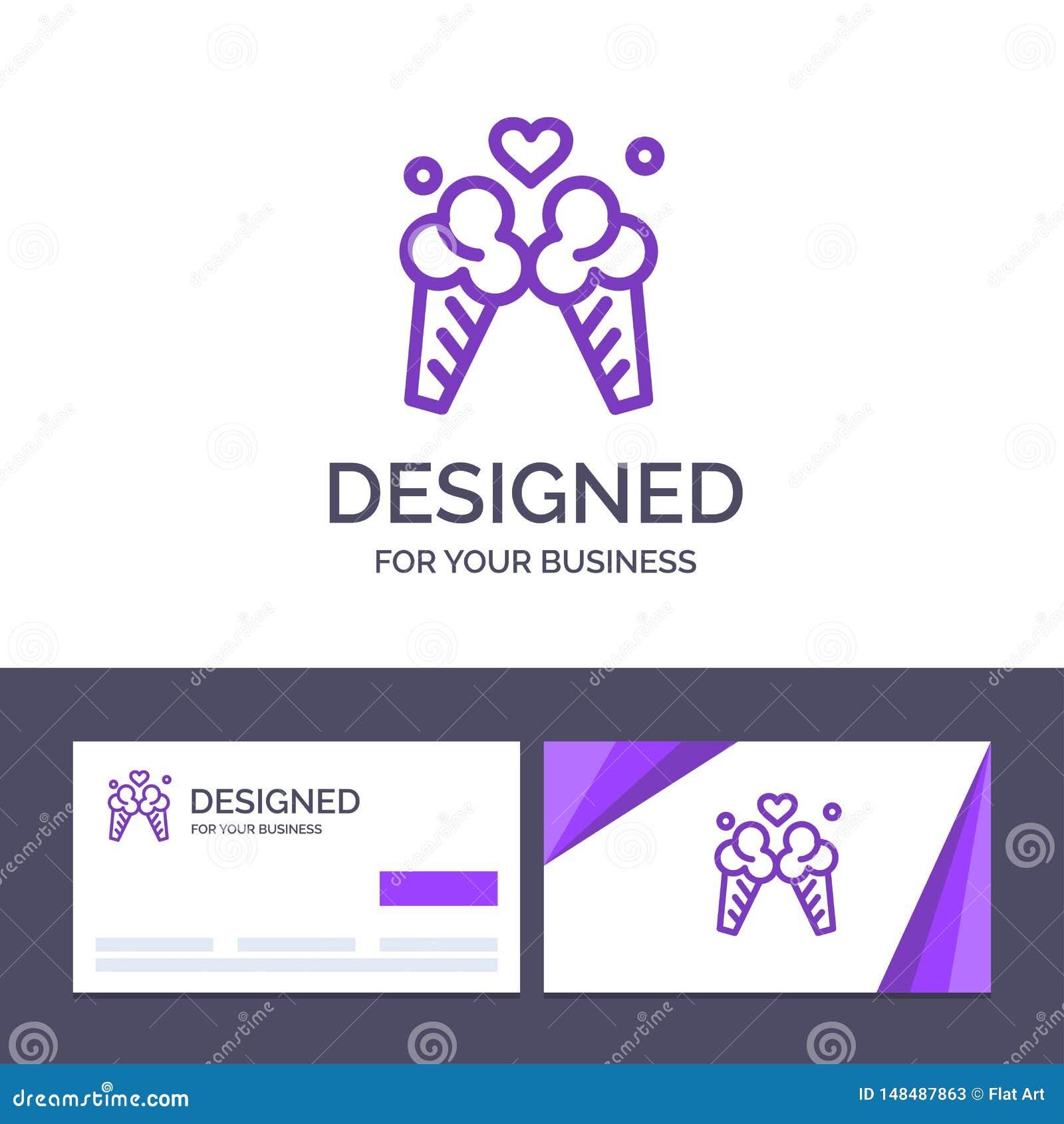 Creatief Visitekaartje en Embleemmalplaatjeroomijs, Liefde, Reis, Zoete Vectorillustratie