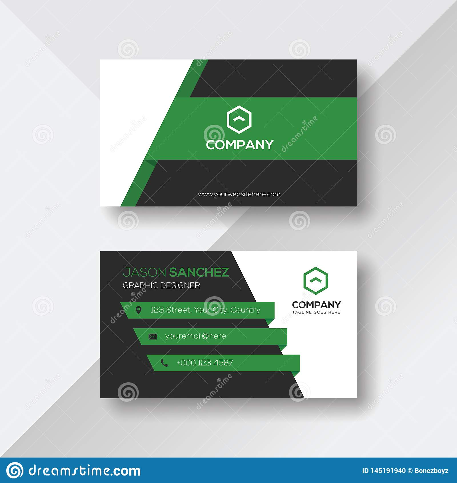 Creatief Visitekaartje met Groene Details
