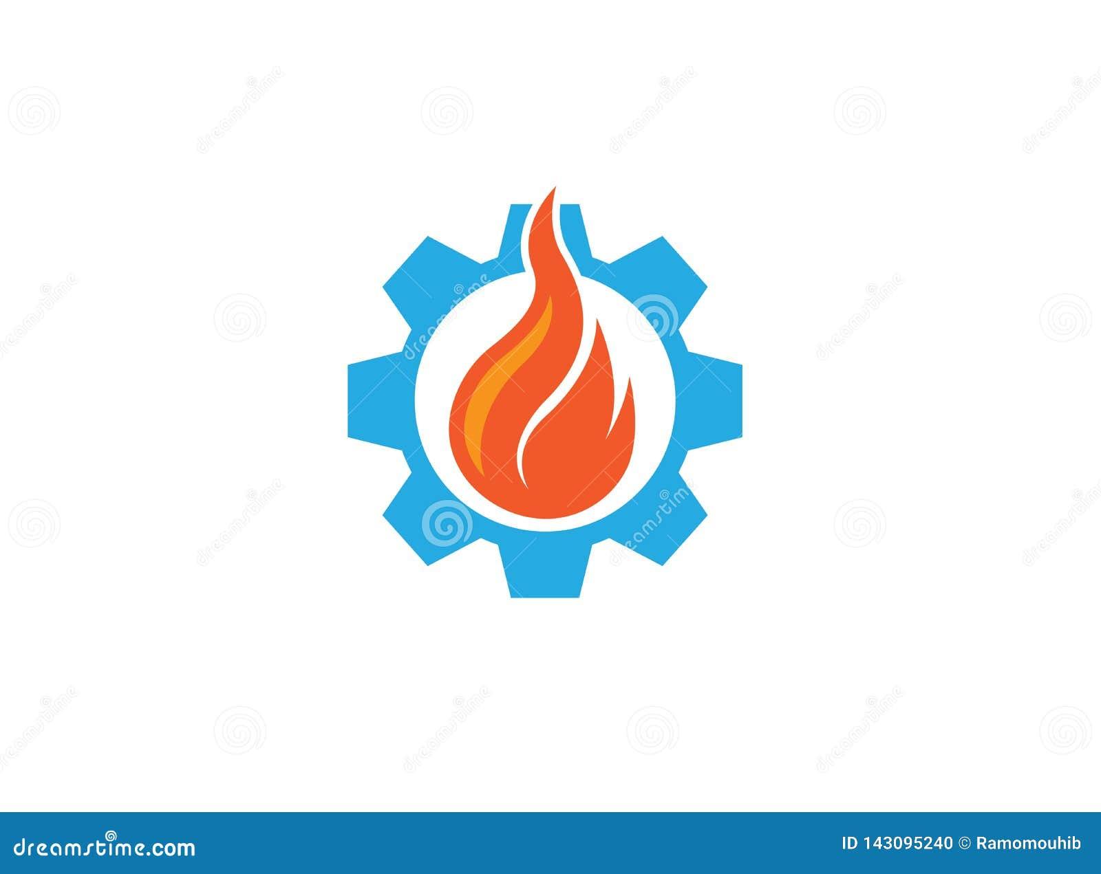 Creatieve brand in het toestelsymbool of pignon voor de illustratie van het embleemontwerp