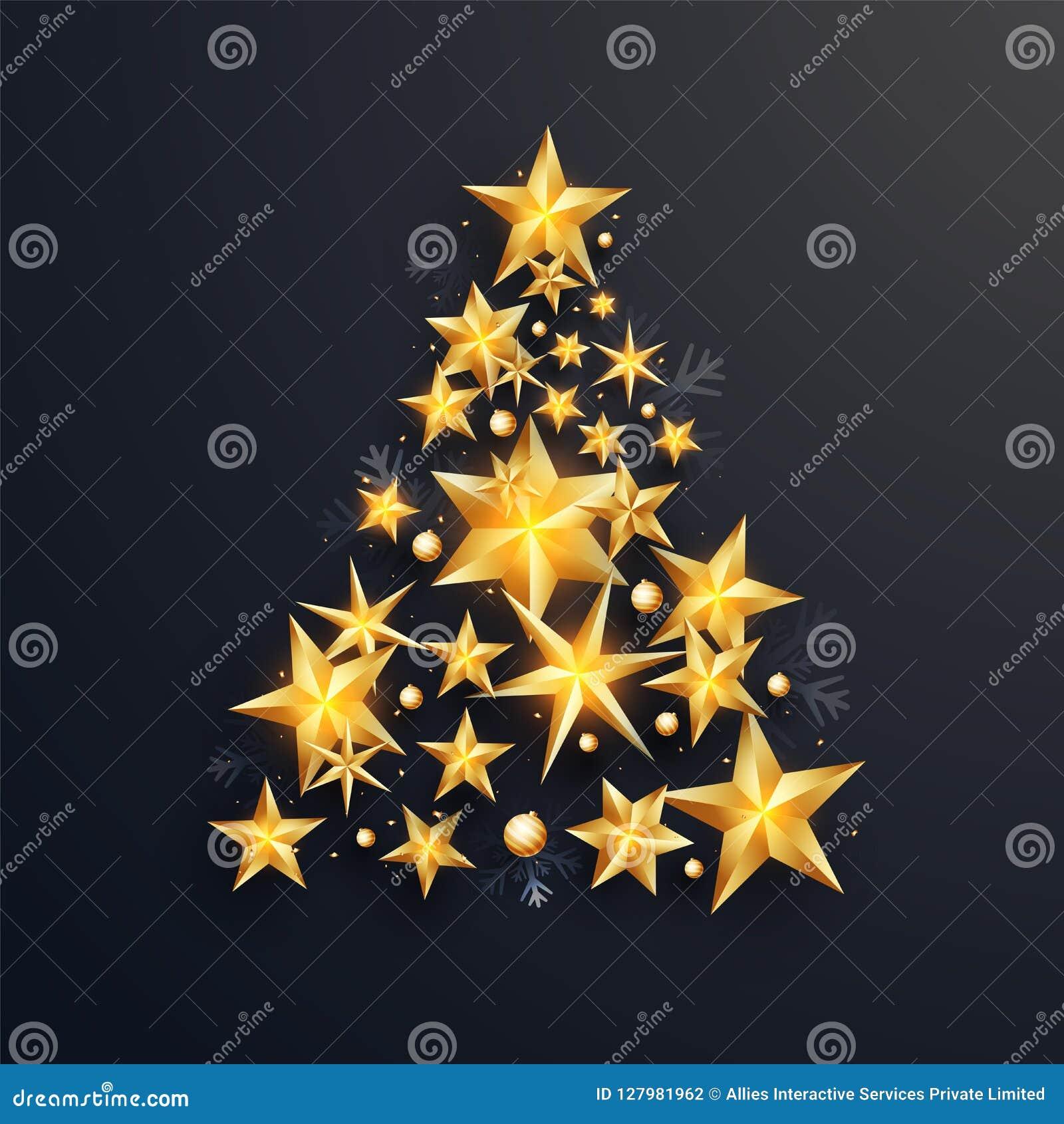 Creatieve die Kerstmisboom door glanzende gouden sterren op zwarte backgroun wordt gemaakt