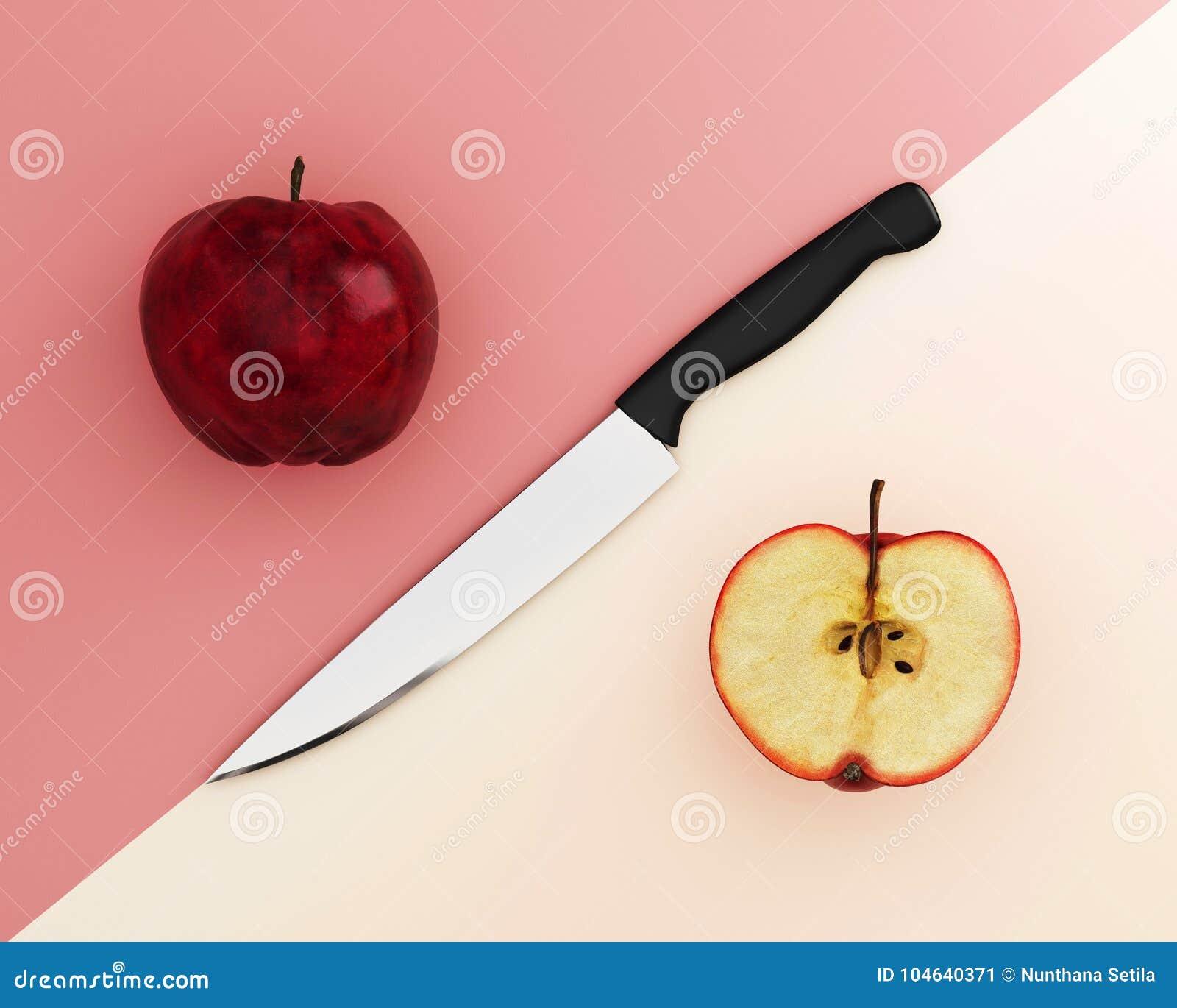 Download Creatieve Die Lay-out Van Apple Met Roestvrije Keukenmessen Wordt Gemaakt Op P Stock Illustratie - Illustratie bestaande uit vruchten, manier: 104640371
