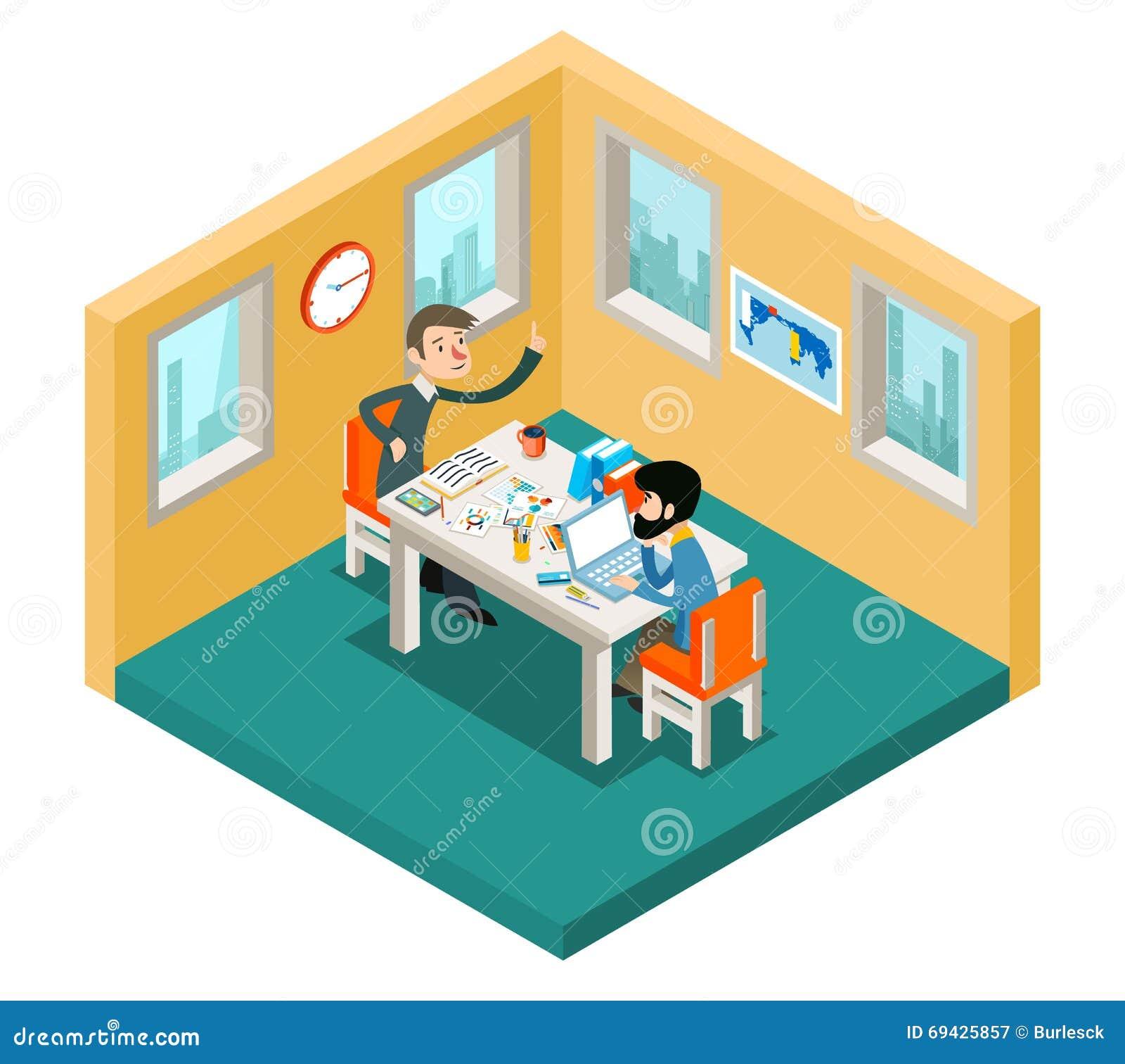 Creatieve samenwerking Zakenliedenteam die in bureau isometrisch 3d concept werken