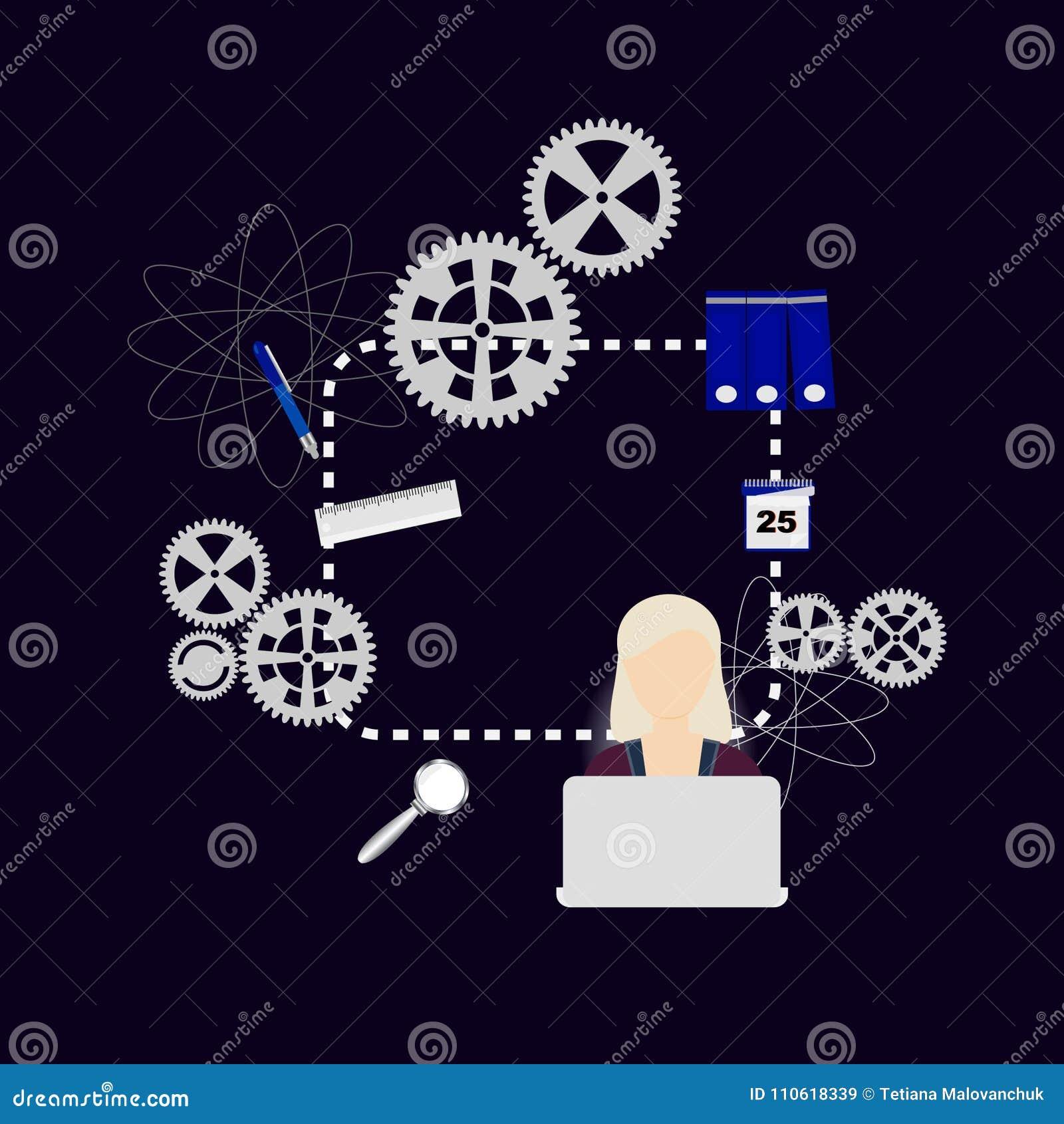 Creatieve vector thuis, meisje die bij computer bestuderen