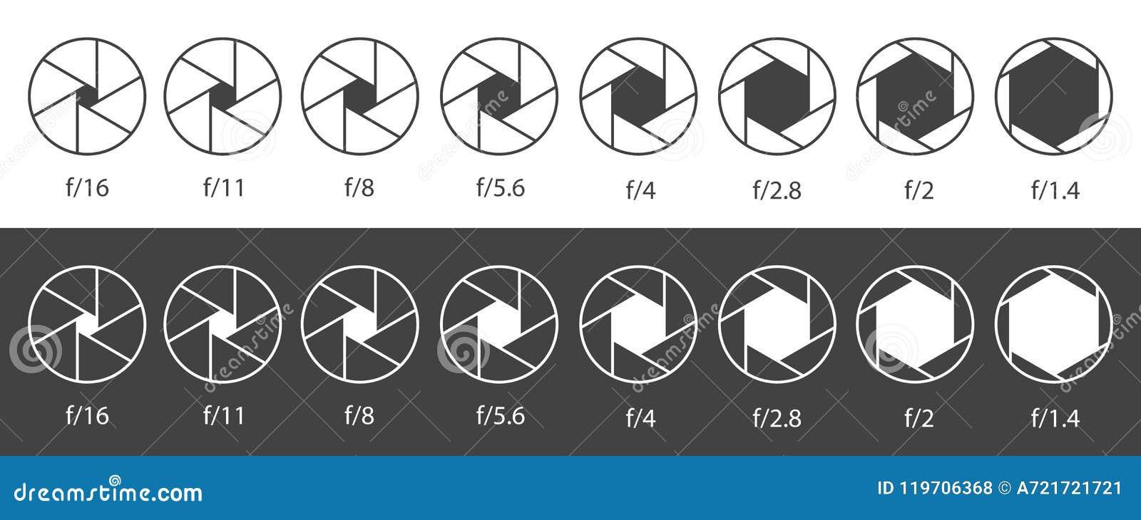 Creatieve vectorillustratie van de opening van het camerablind met verschillende die ISO op transparante achtergrond wordt geïsol