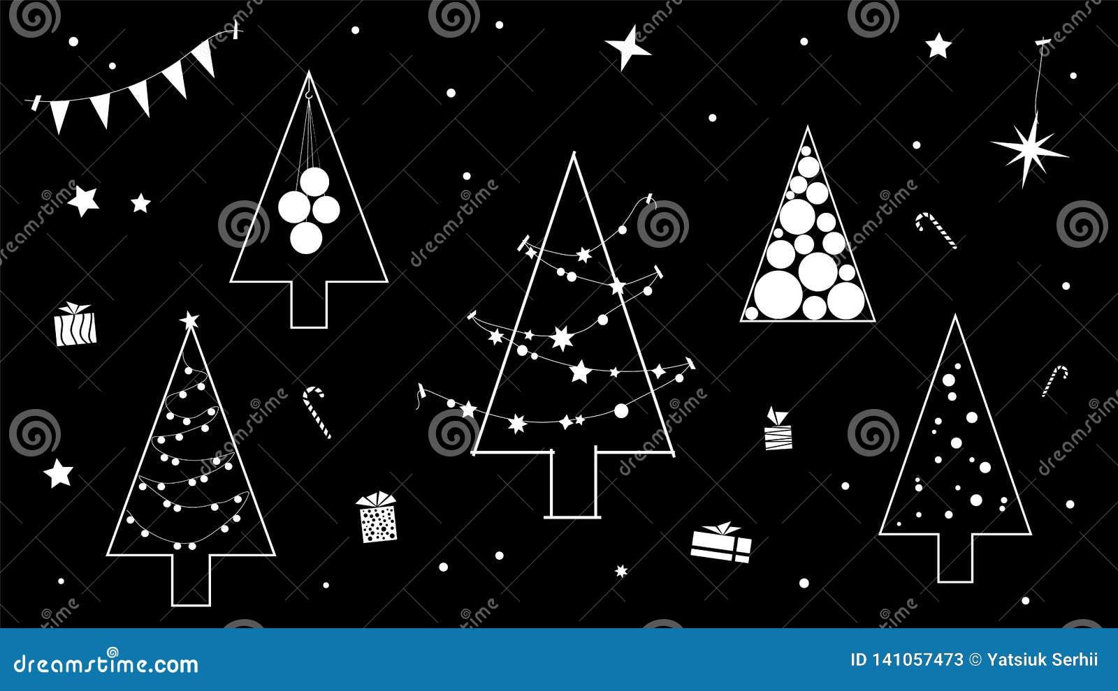 Creatieve zwart-witte contour van de Kerstboom in een moderne contouruitvoering