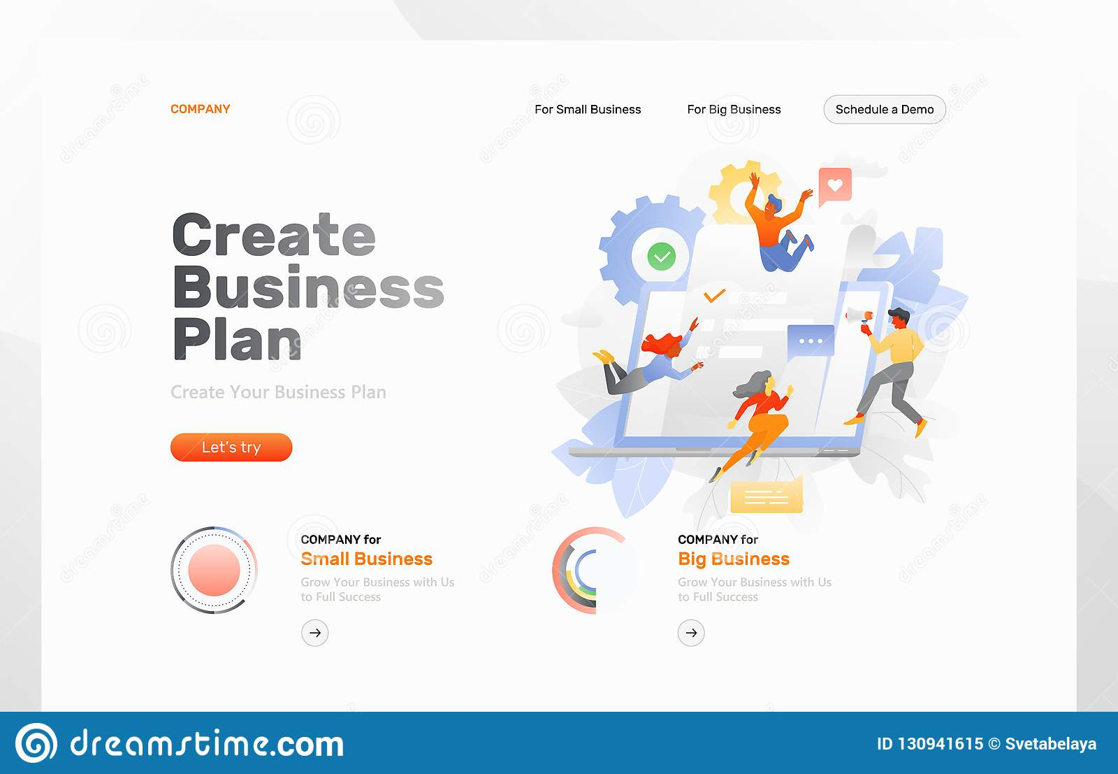 Creating Business Plan Web Page Stock Vector Illustration