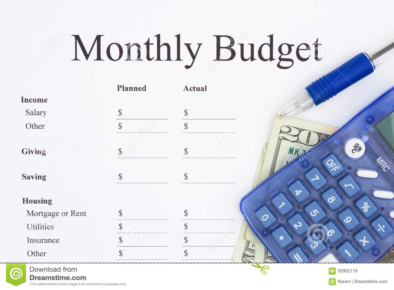 creating a monthly budget with calculator stock image image of