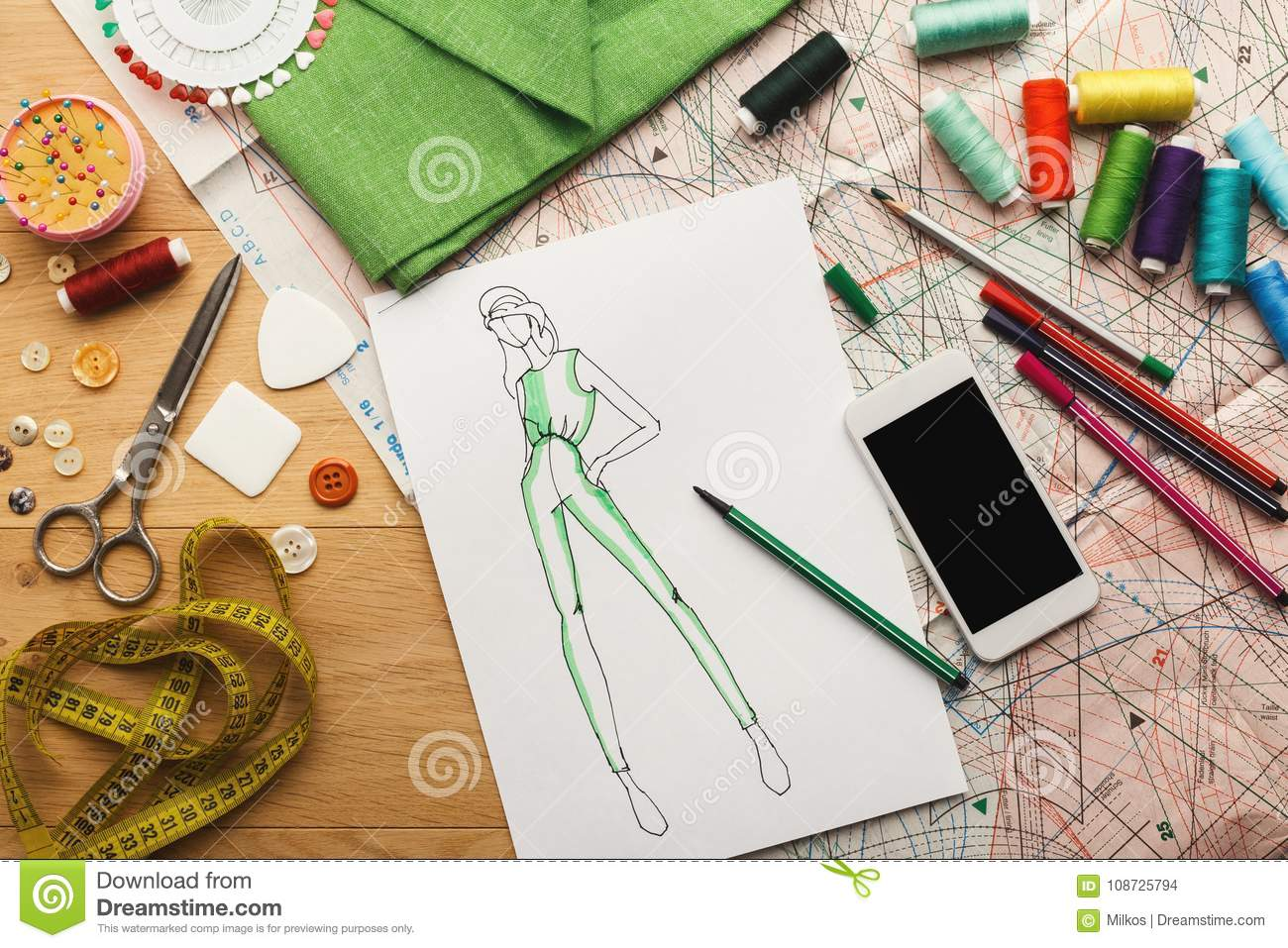 946cf4a36538d Creating new fashion collection background. Hand drawn sketches of clothes