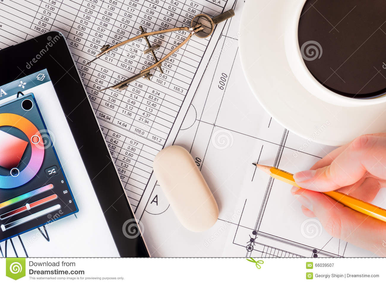 creation of the design project the work of the tablet stock image image of calculation internet 66039507