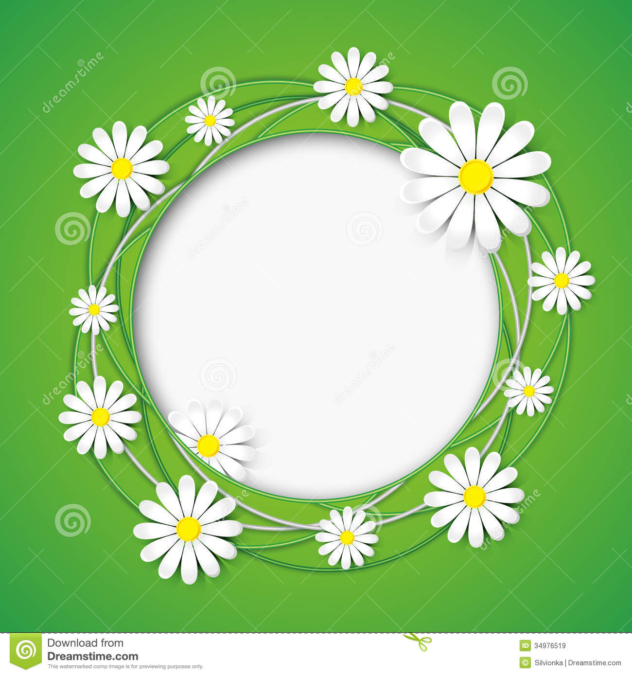 Creative Abstract Background With Chamomile Flower Stock
