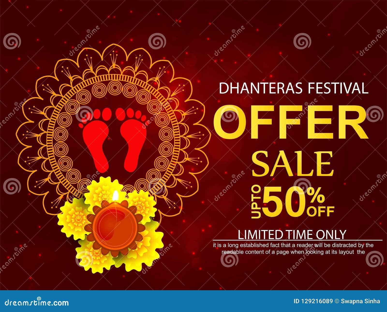 Creative Abstract Banner Or Poster For Dhanteras Stock Vector