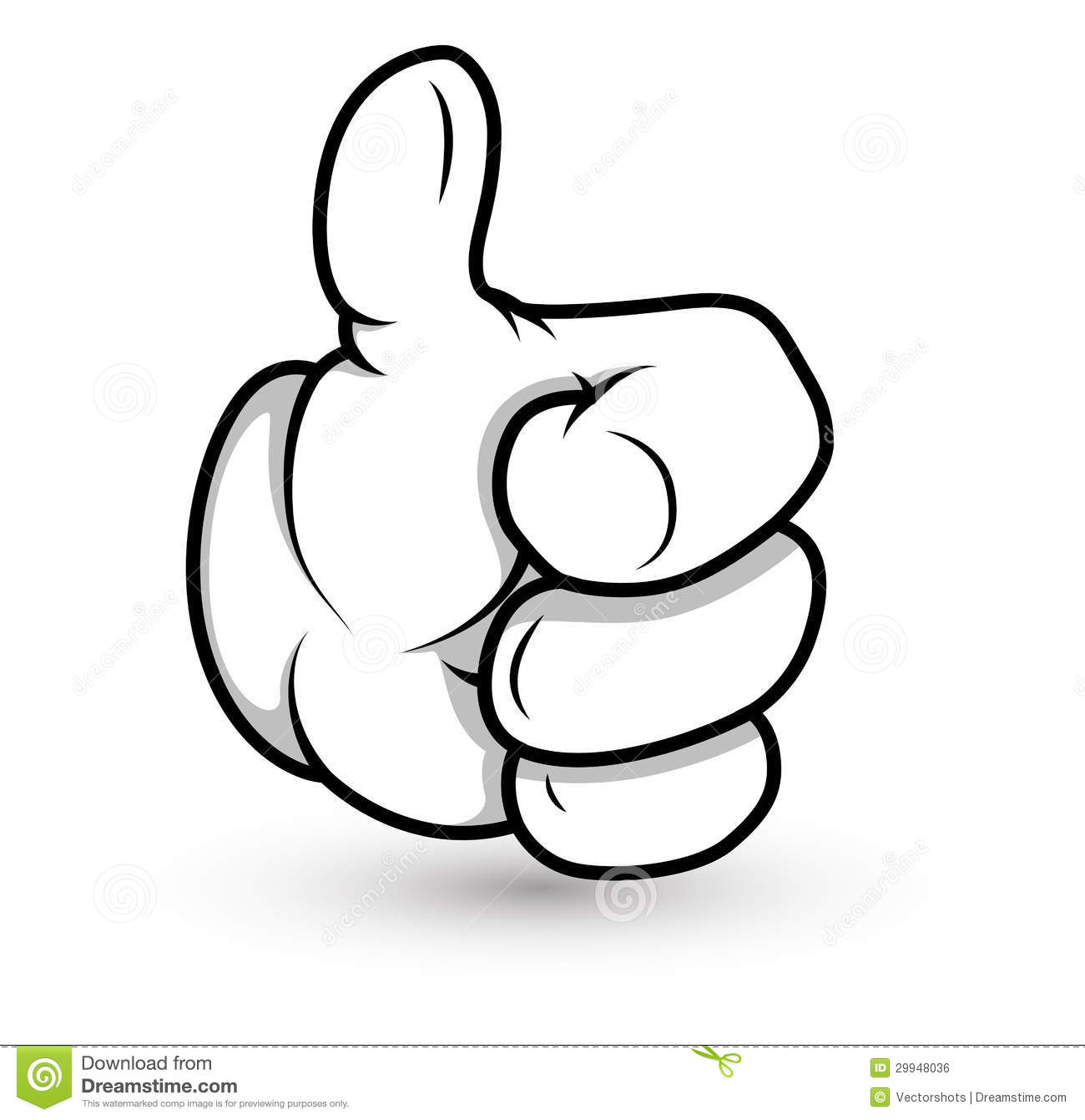 Conceptual Drawing Art of Cartoon Hand Gesture Vector IllustrationCartoon Hand Pointing Up
