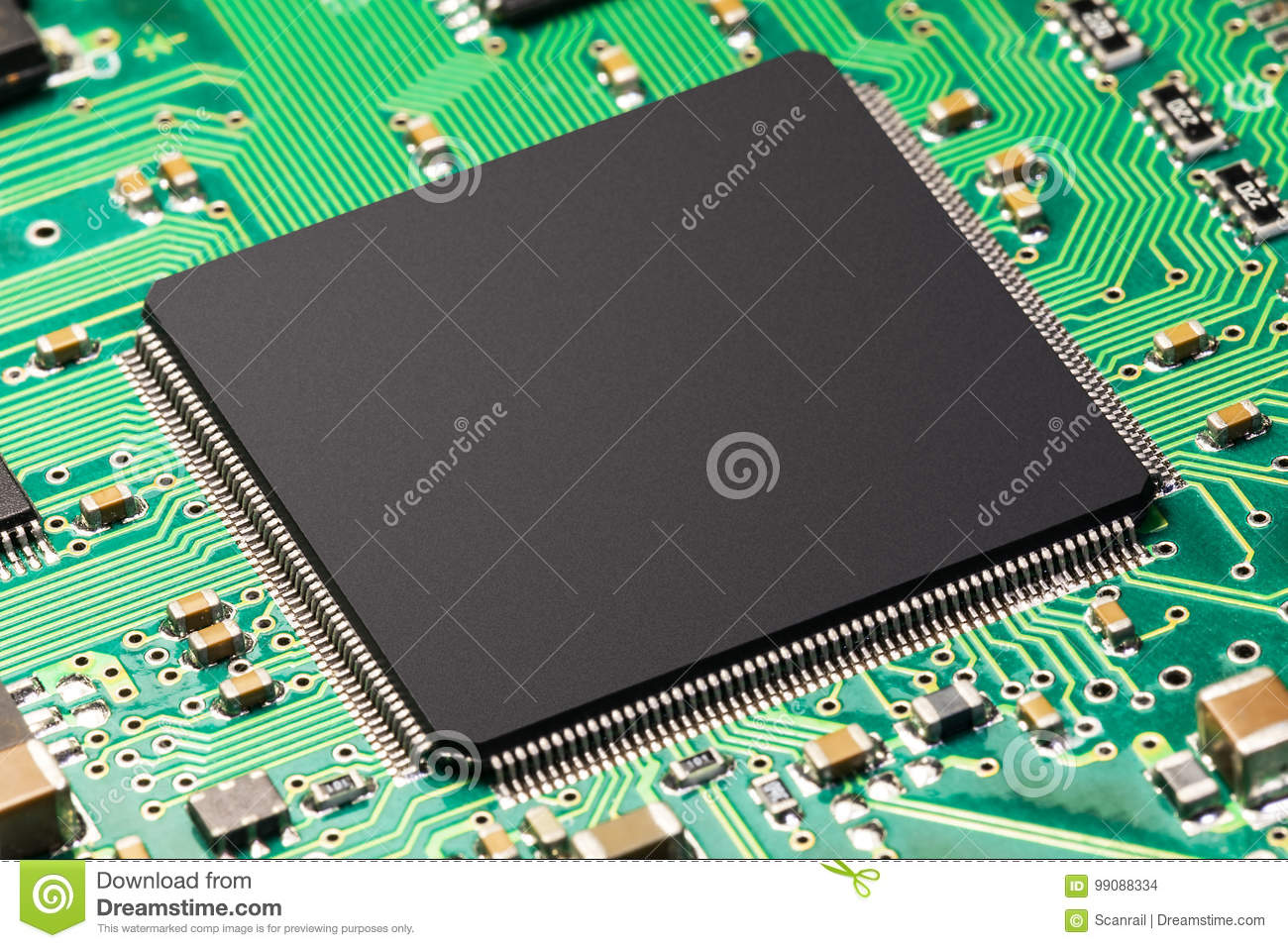 Microchip On The Circuit Board Stock Photo Image Of Macro Photos Pcb Circuits Computers Components Technology Creative Abstract Electronic And Computer Pc Hardware Business Concept View Cpu Or Chip Green Printed