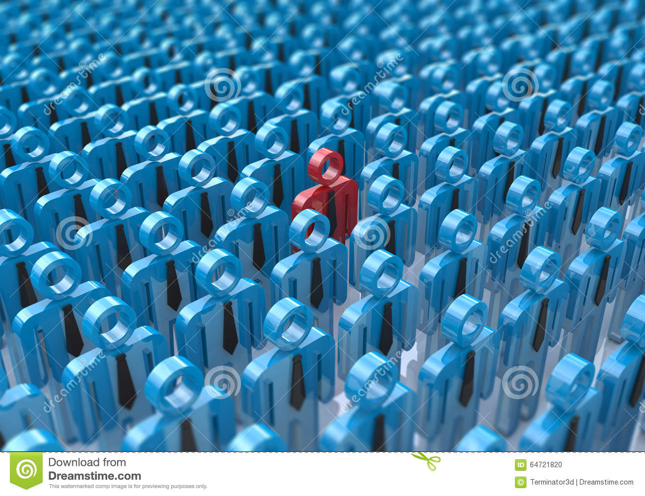 Creative abstract individuality, uniqueness and leadership business concept: single red 3D people figure in crowded group of blue
