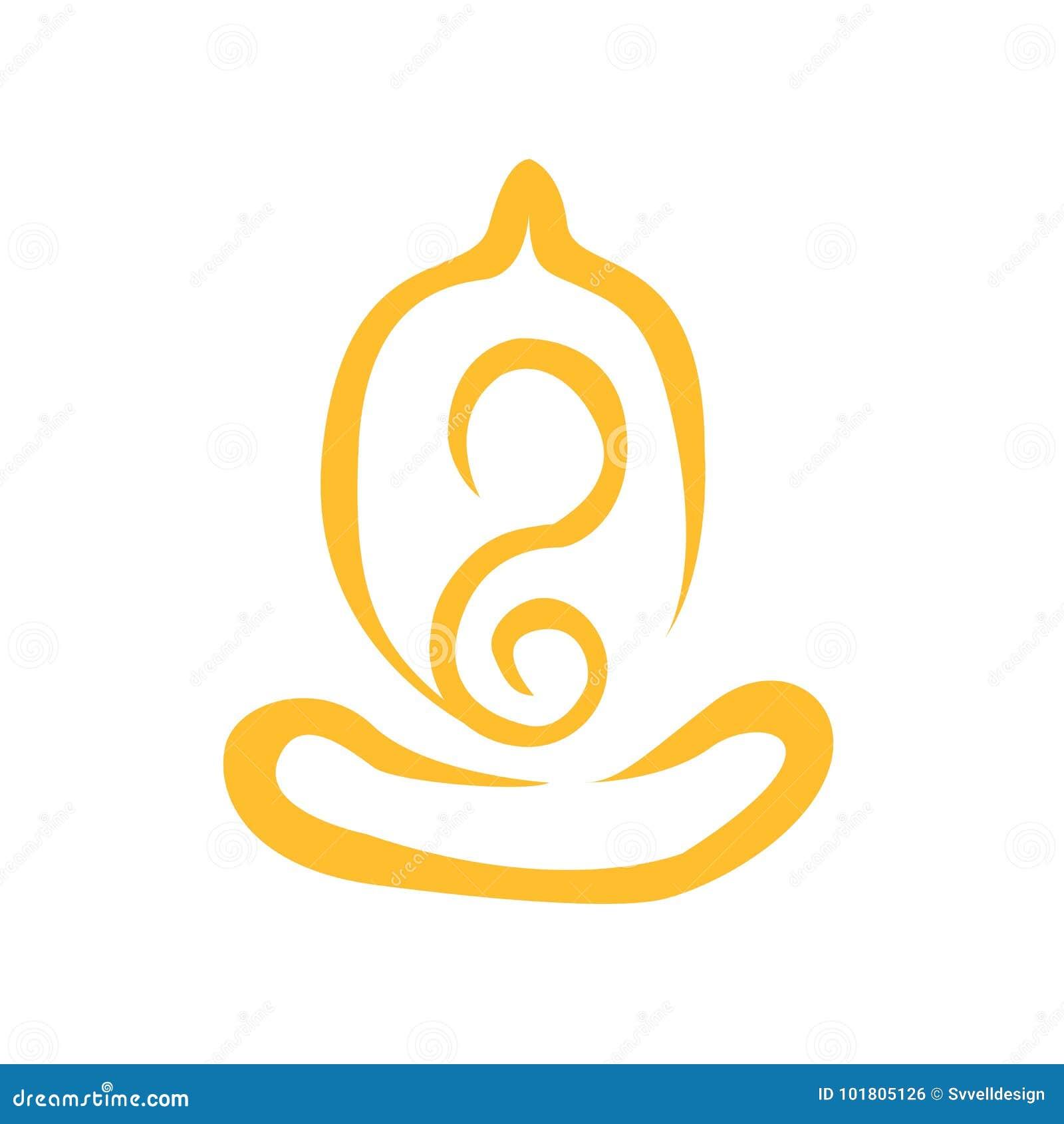 Creative Abstract Simple Line Art Yoga Meditation Stock