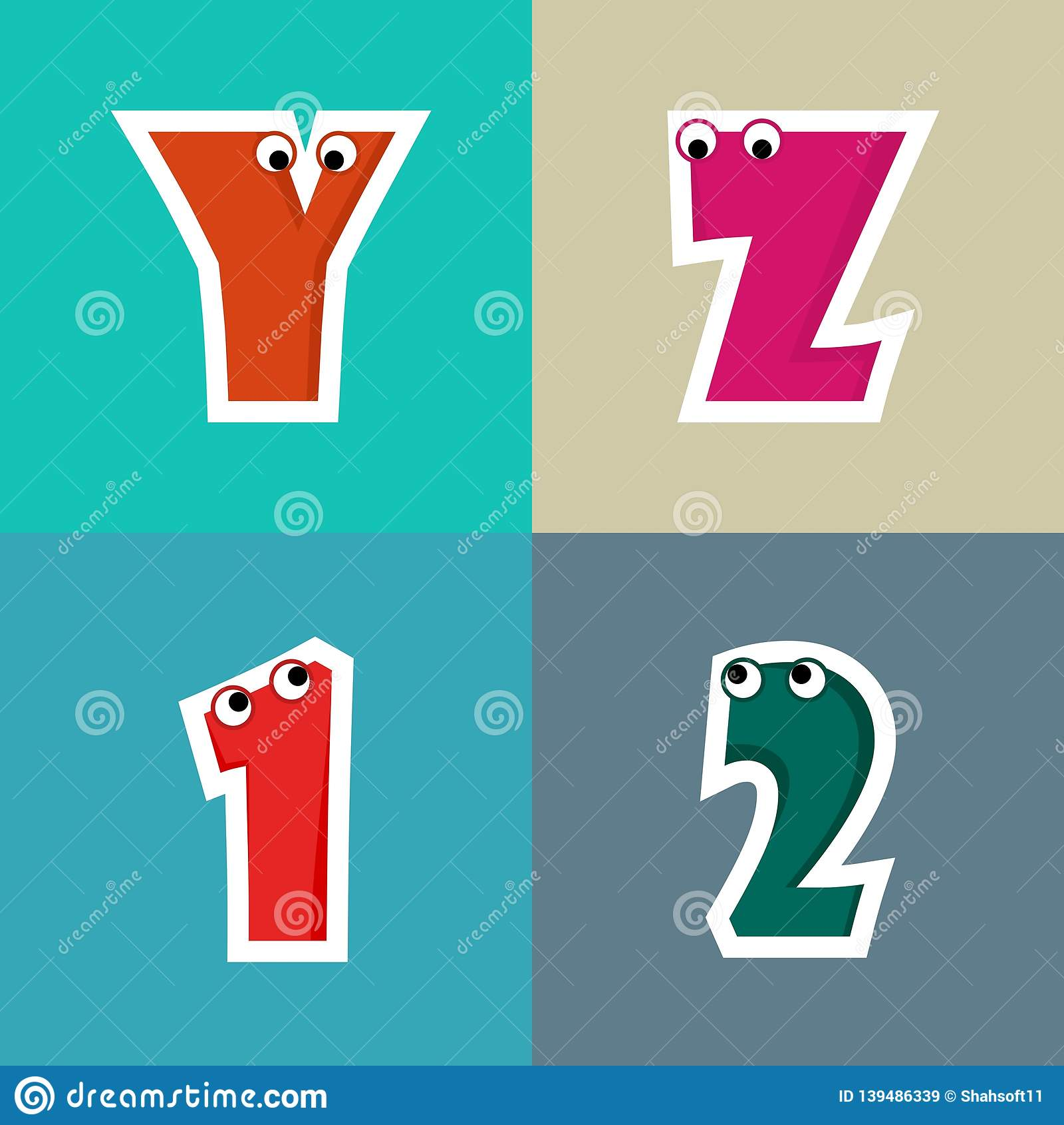 Creative Alphabet Cartoon Illustration for Kids
