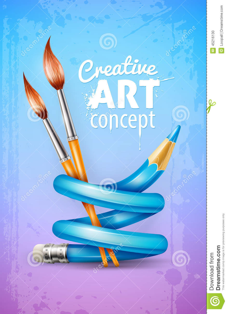 Creative art concept with twisted pencil and brushes for for Creative painting by design