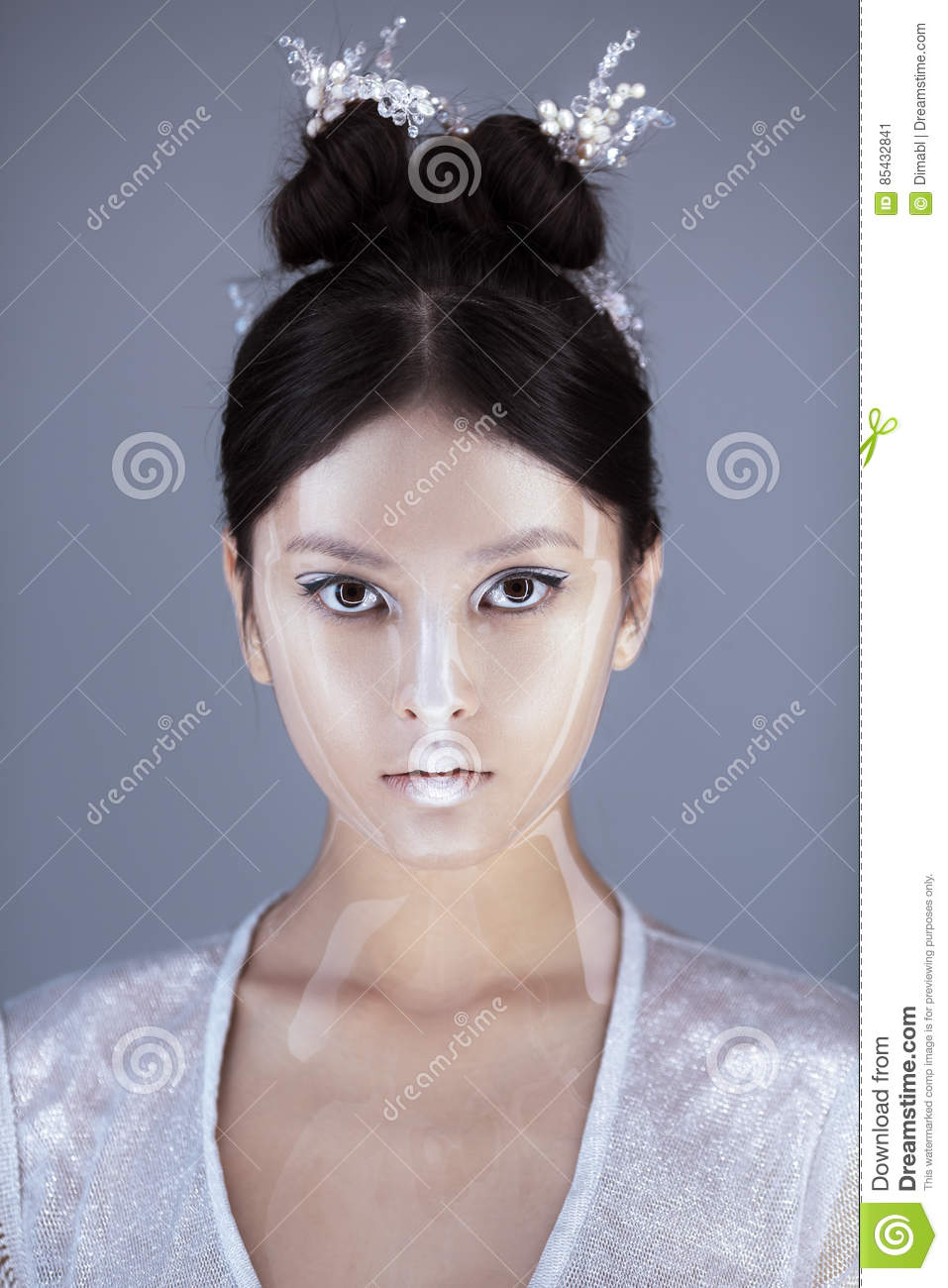 Creative art make-up and hairstyle. Portrait of beautiful asian girl.