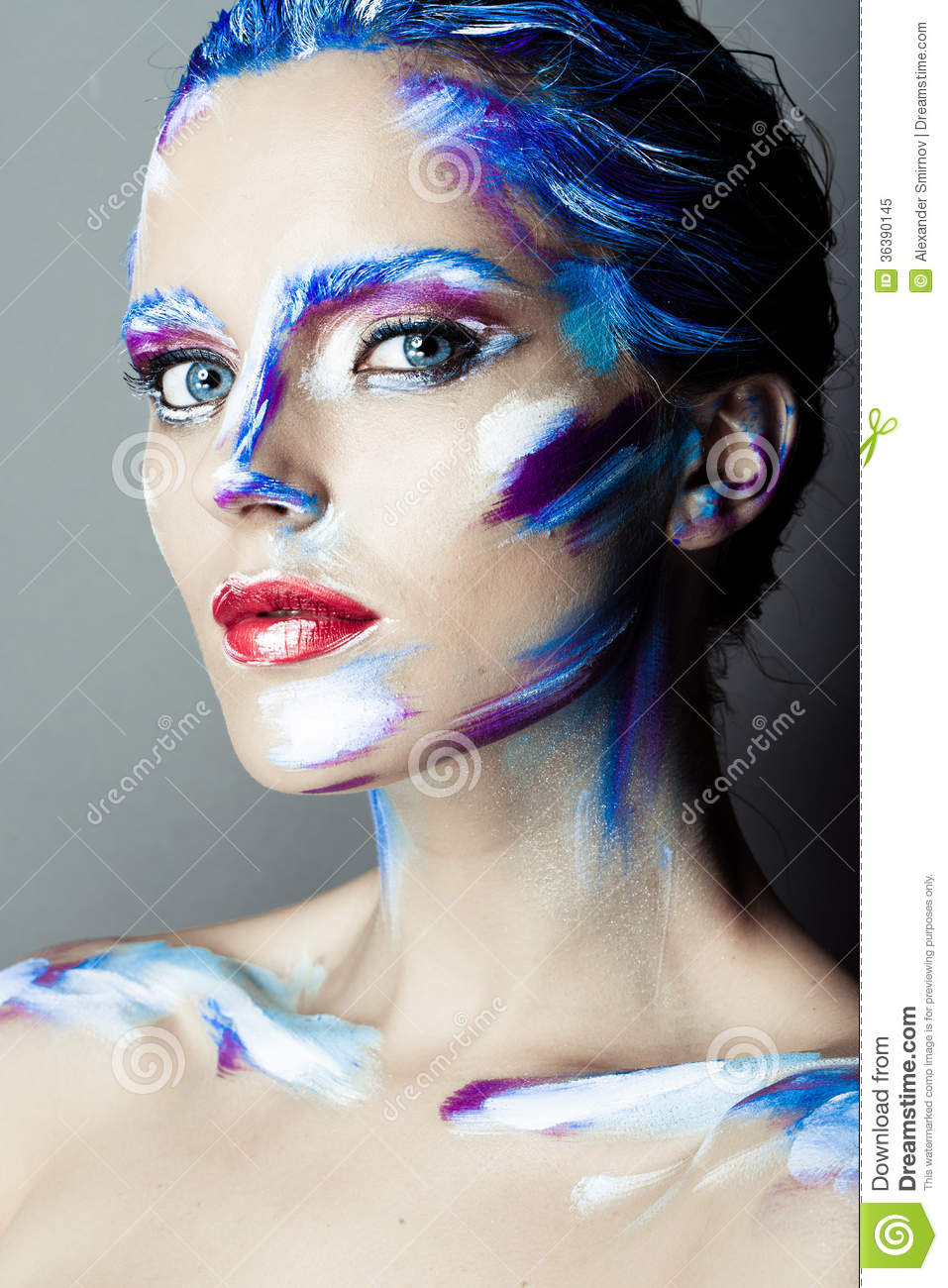 Creative Art Makeup Of A Young Girl With Blue Eyes Stock