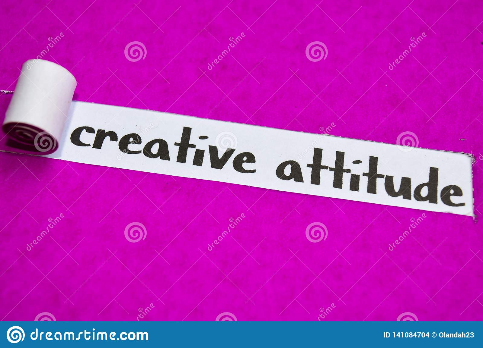 Creative Attitude text, Inspiration, Motivation and business concept on purple torn paper