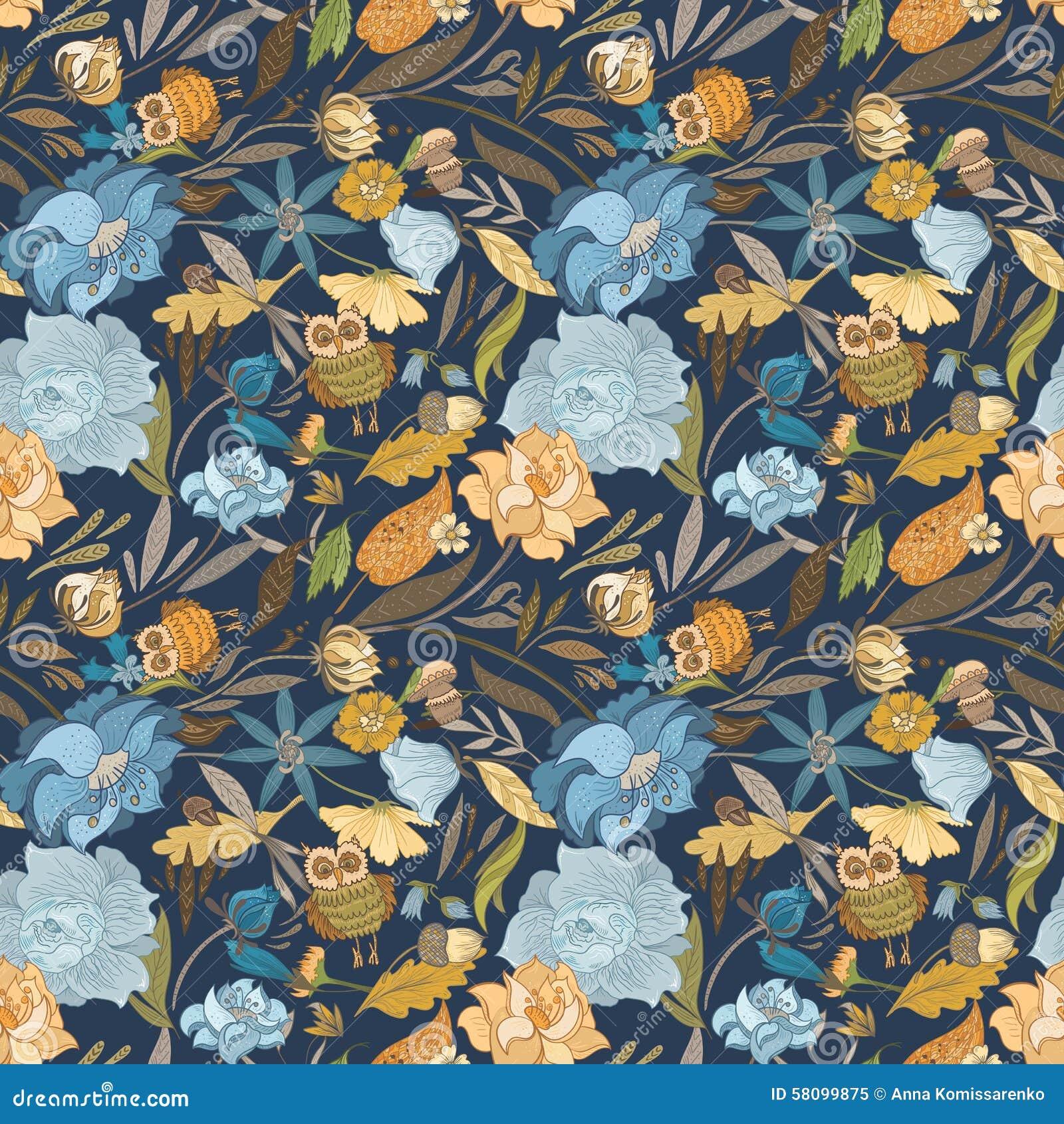 Creative Autumn Blue Vector Pattern Stock Vector Illustration Of