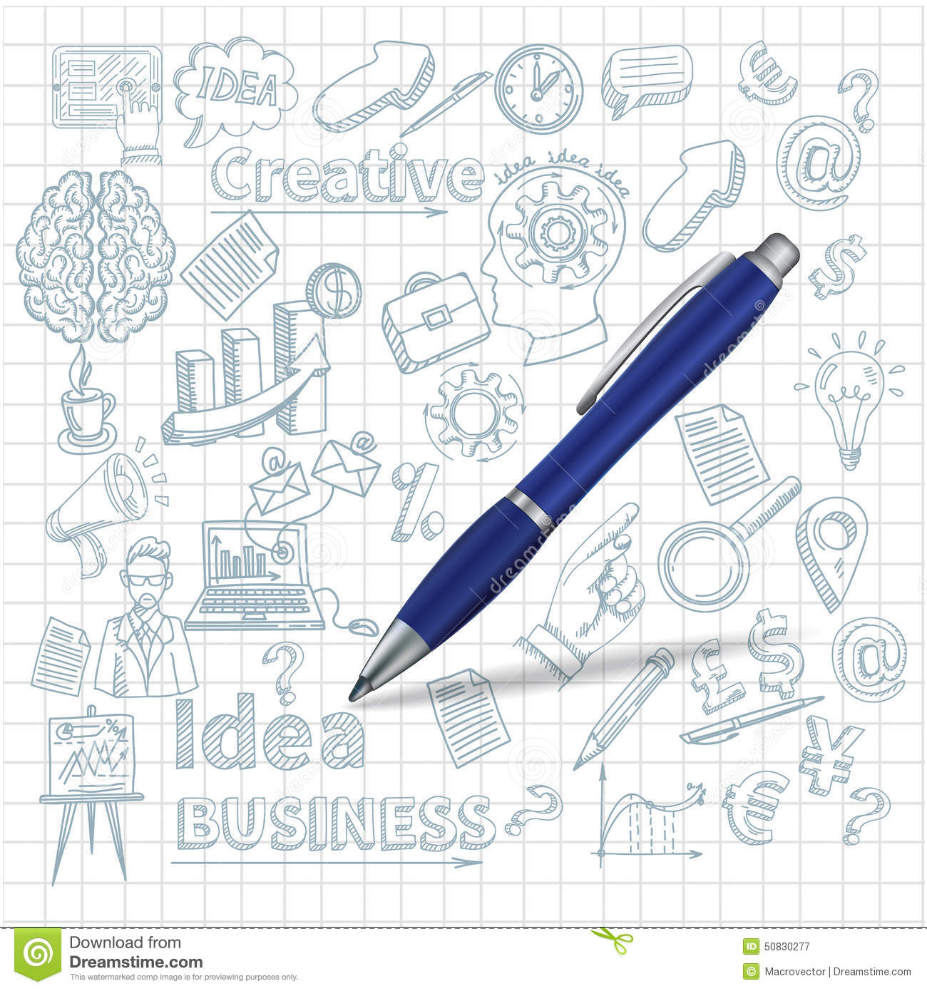 Creative Background With Pen Stock Vector - Image: 50830277