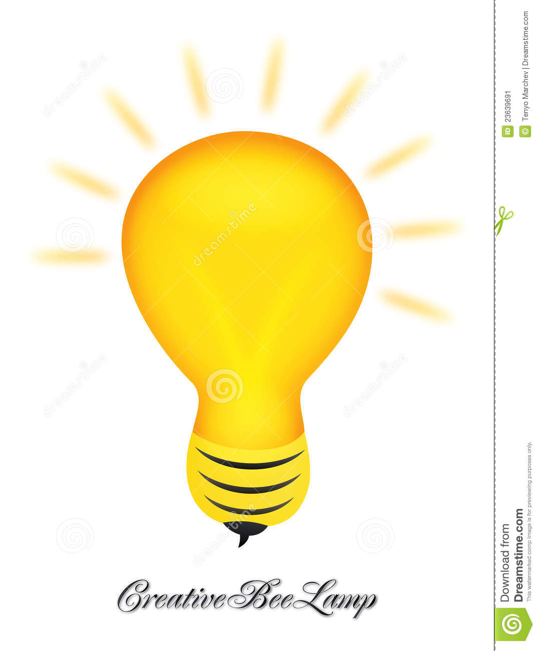 Creative Bee Lamp Logo Design Stock Vector Image 23639691