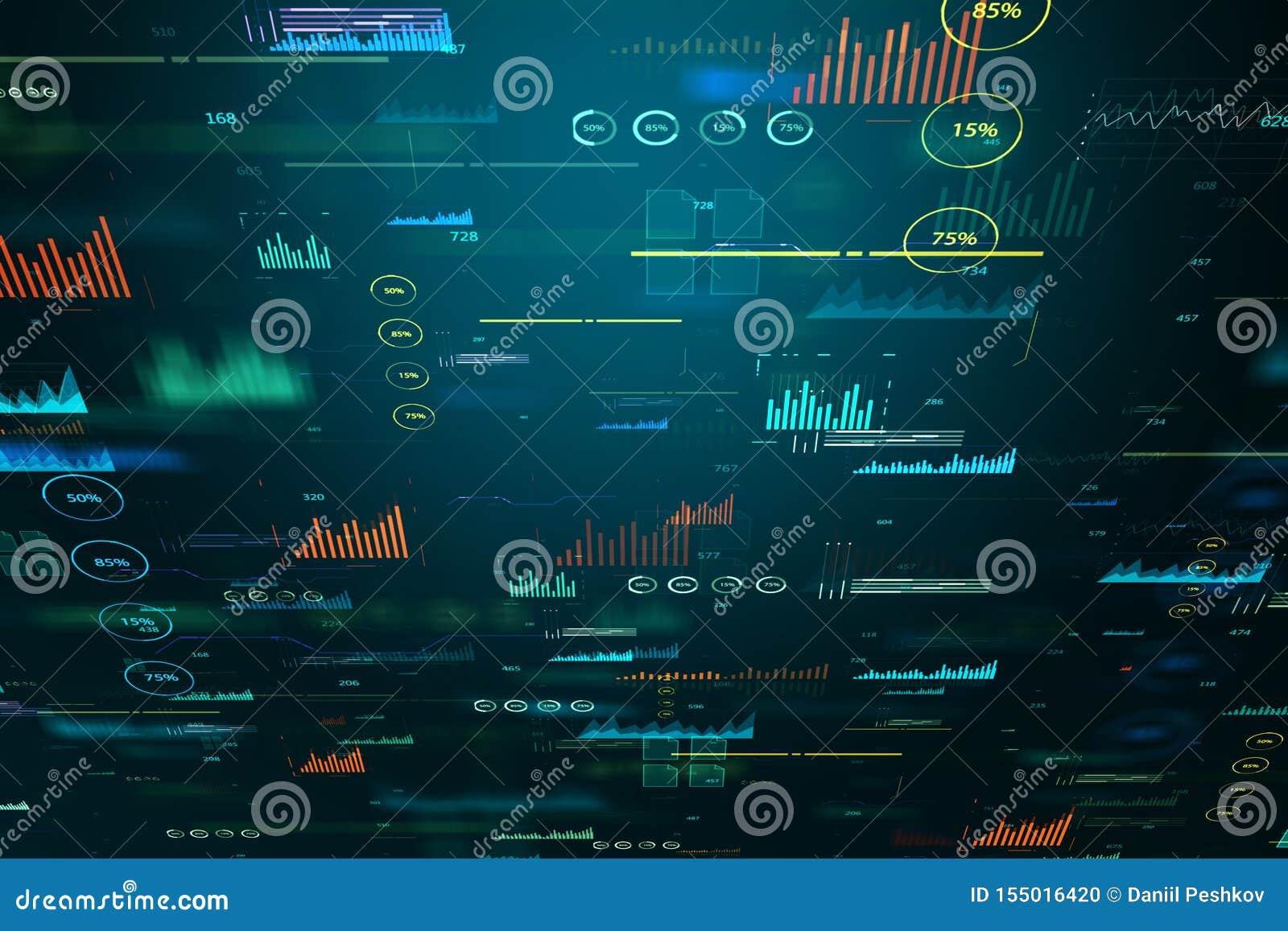 Creative Big Data Charts Wallpaper Stock Illustration