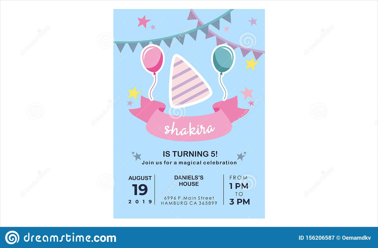 Creative Birthday Card Design For Your Kid S Party Stock