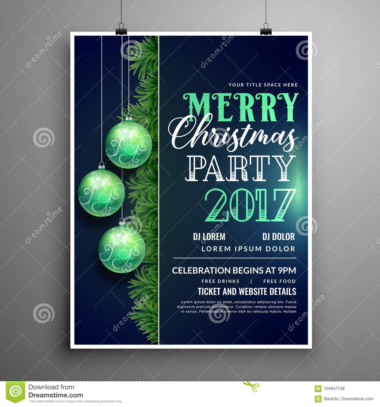 creative blue christmas party flyer design template with hanging