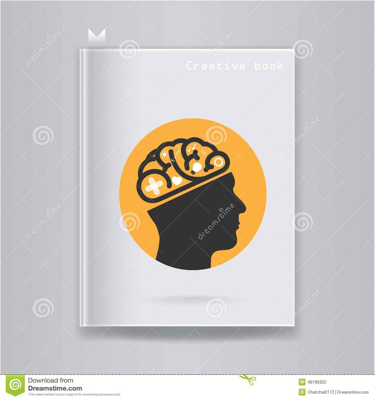 Book Cover Illustration Royalties : Creative brain idea concept on blank book cover stock