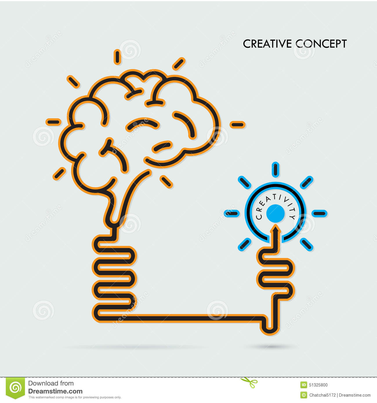 Poster design education - Creative Brain Idea And Light Bulb Concept Design For Poster Fl Stock Photo